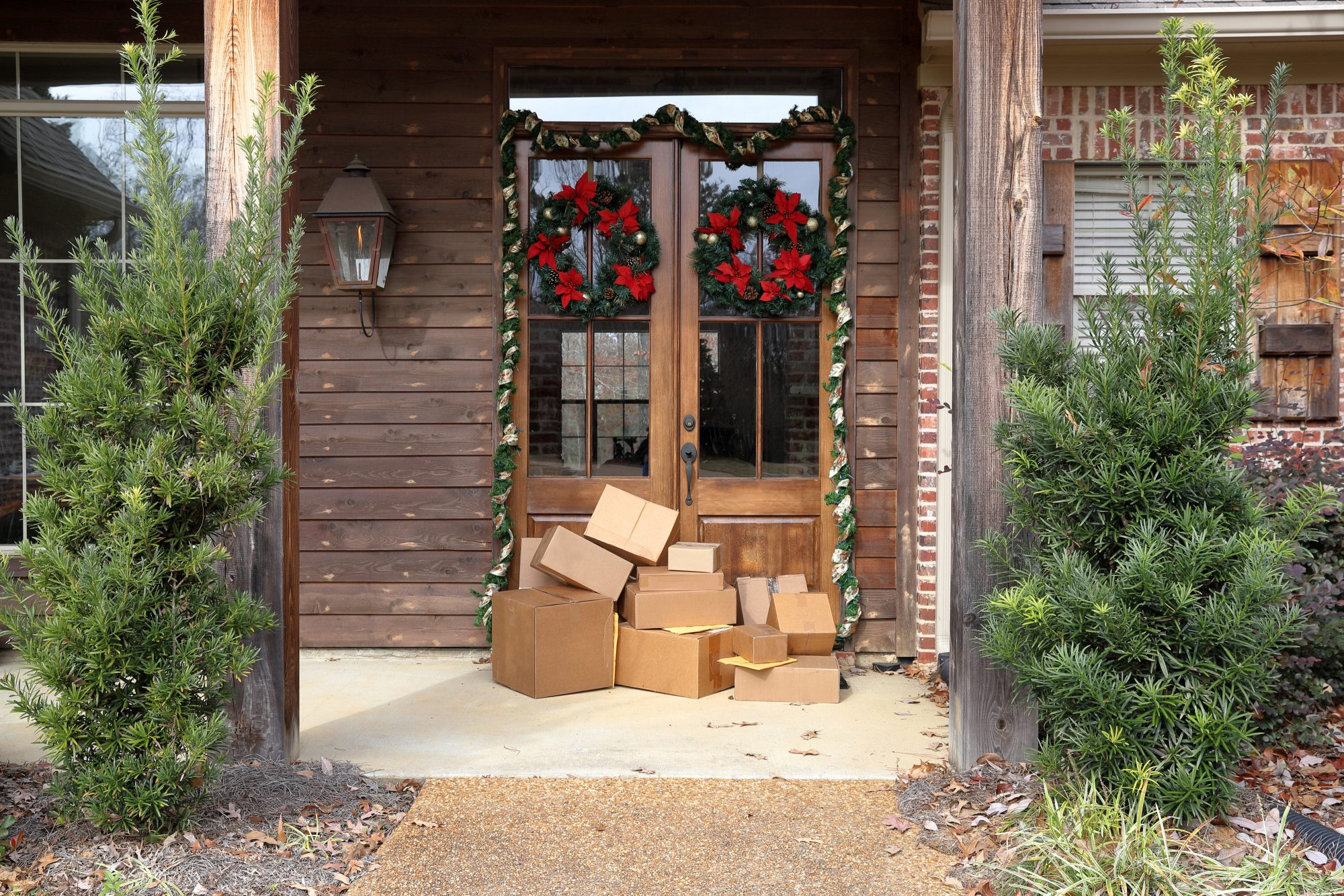 Holiday Delivery Boxes on Doorstep
