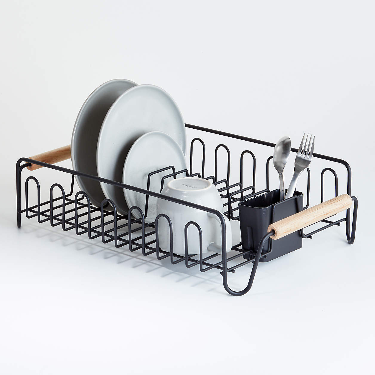 Black Dish Rack with Wood Handles