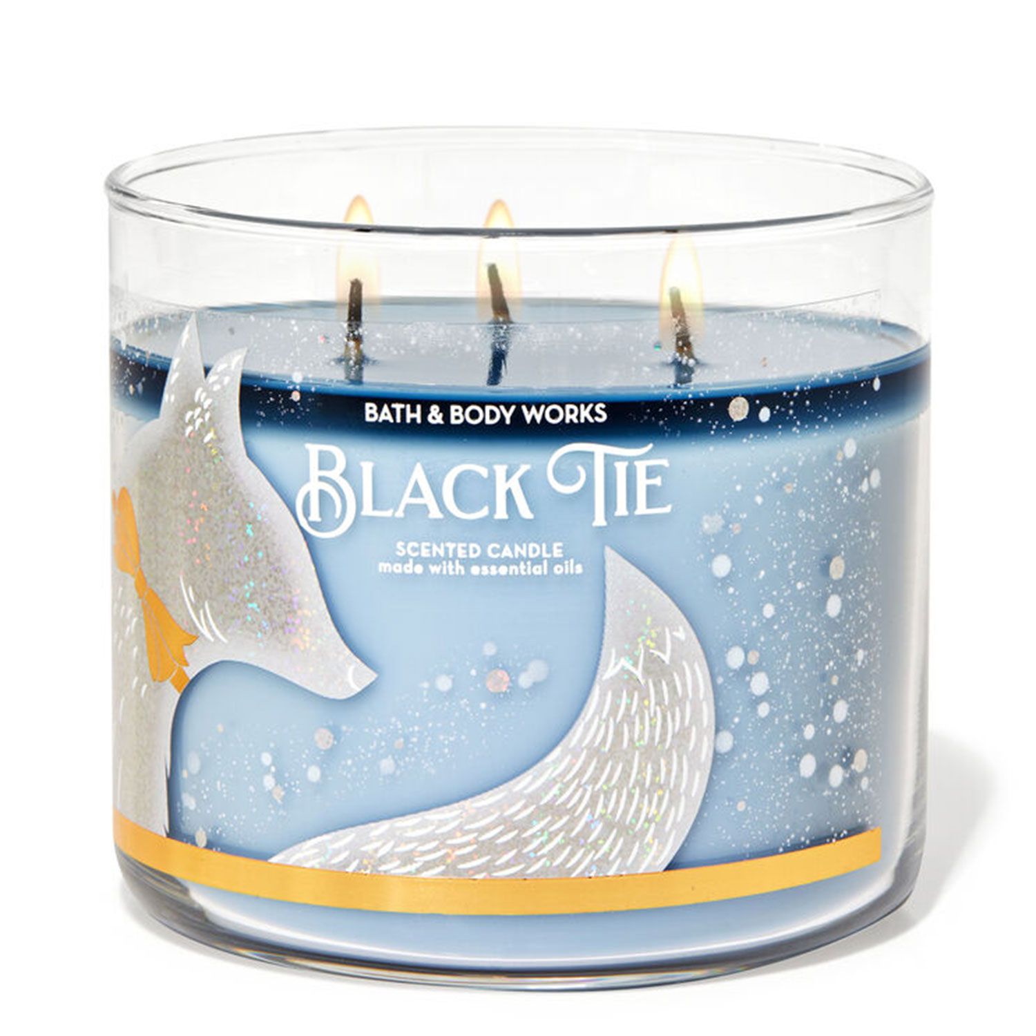 black tie holiday candle