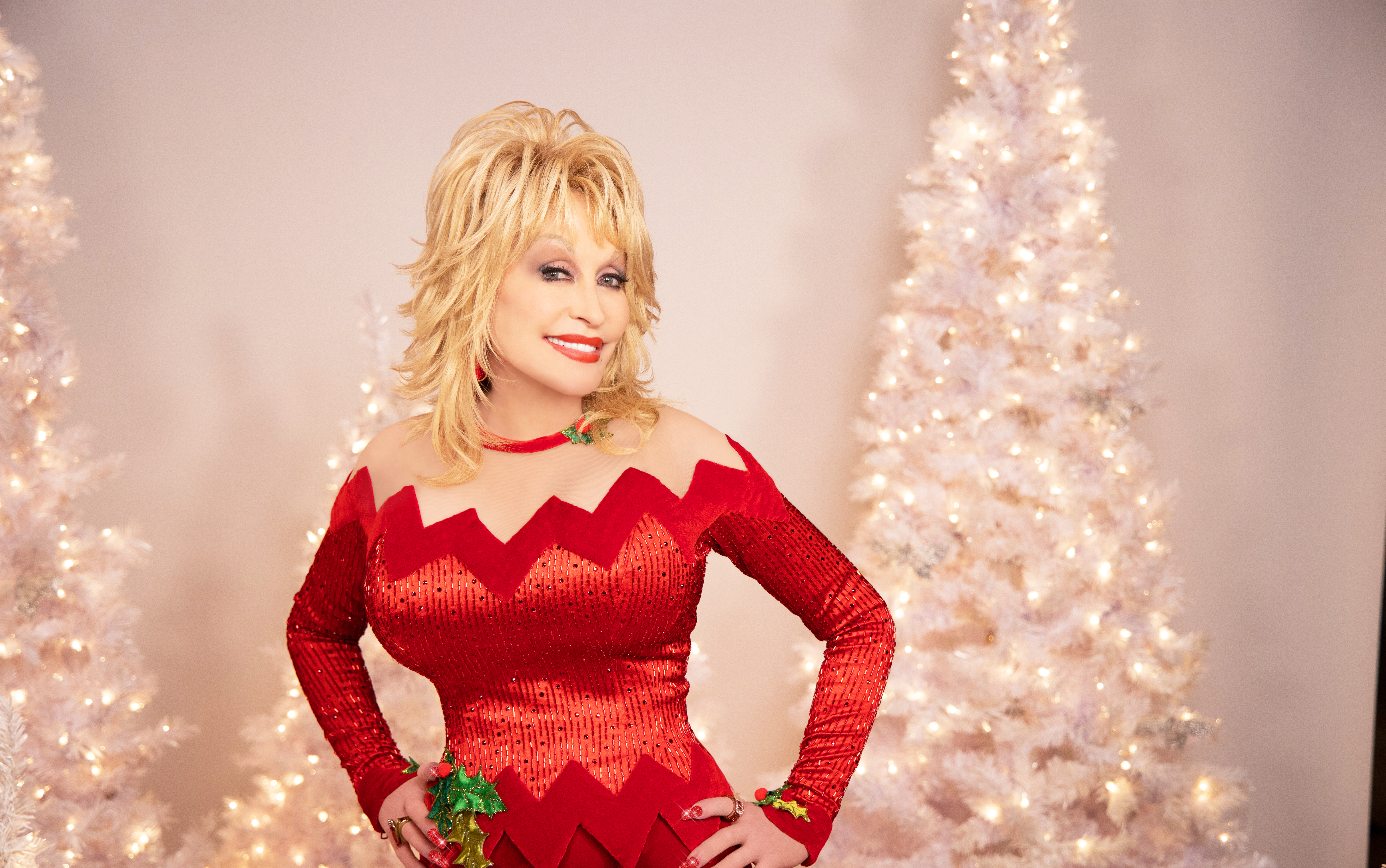 Dolly Parton Red Dress and White Christmas Tree