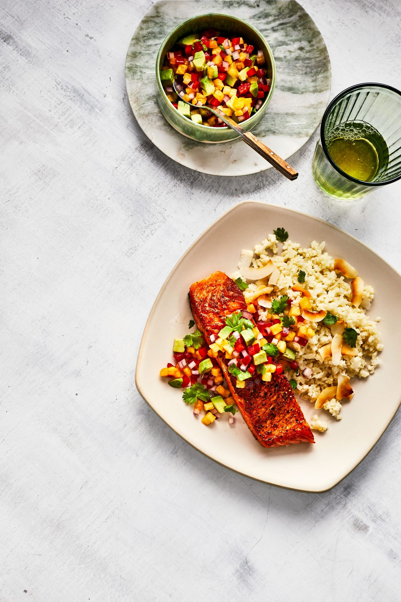 Salmon with Pineapple-Pepper Salsa and Coconut Cauliflower Rice