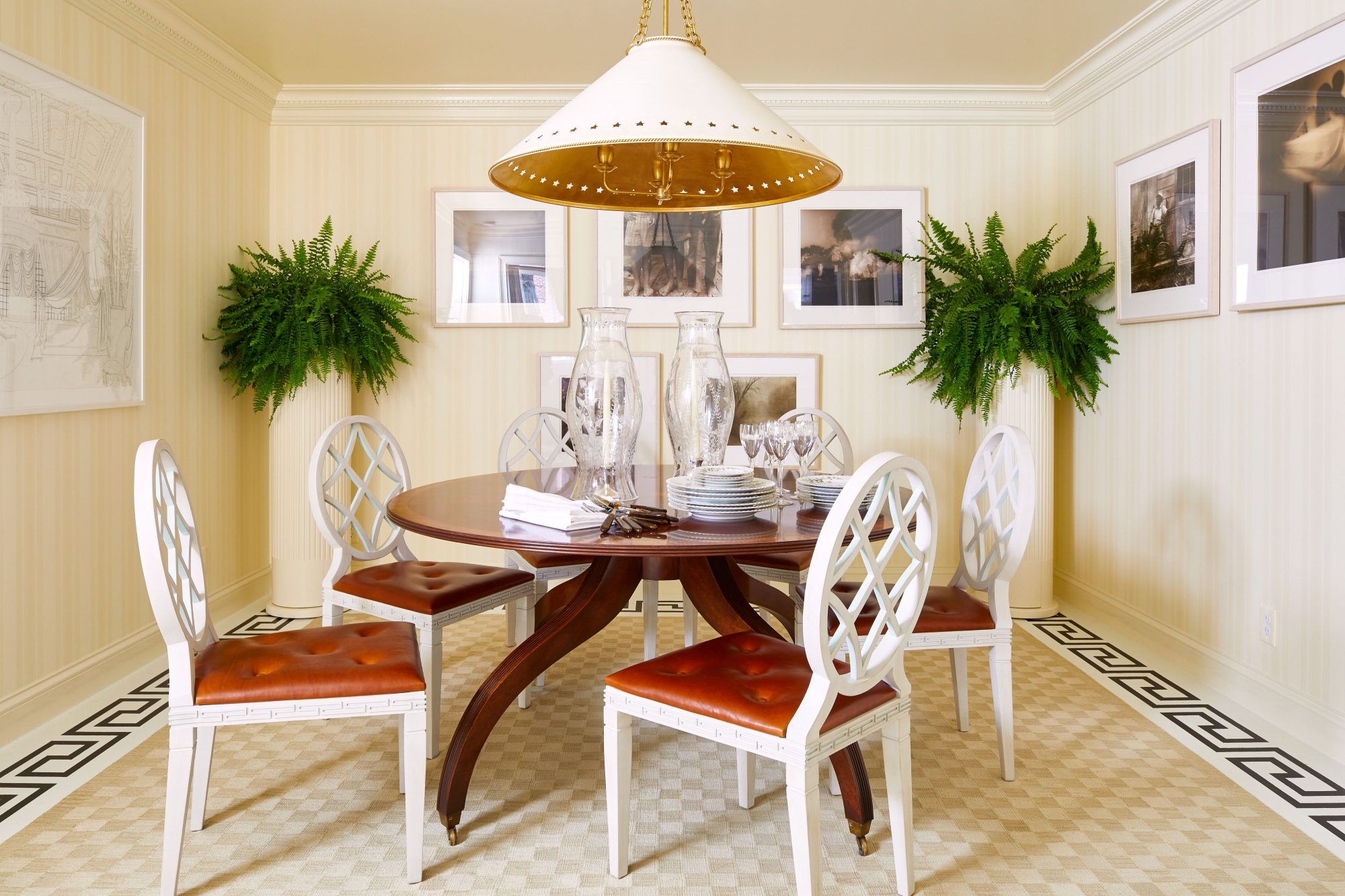 Formal dining room with modern accents