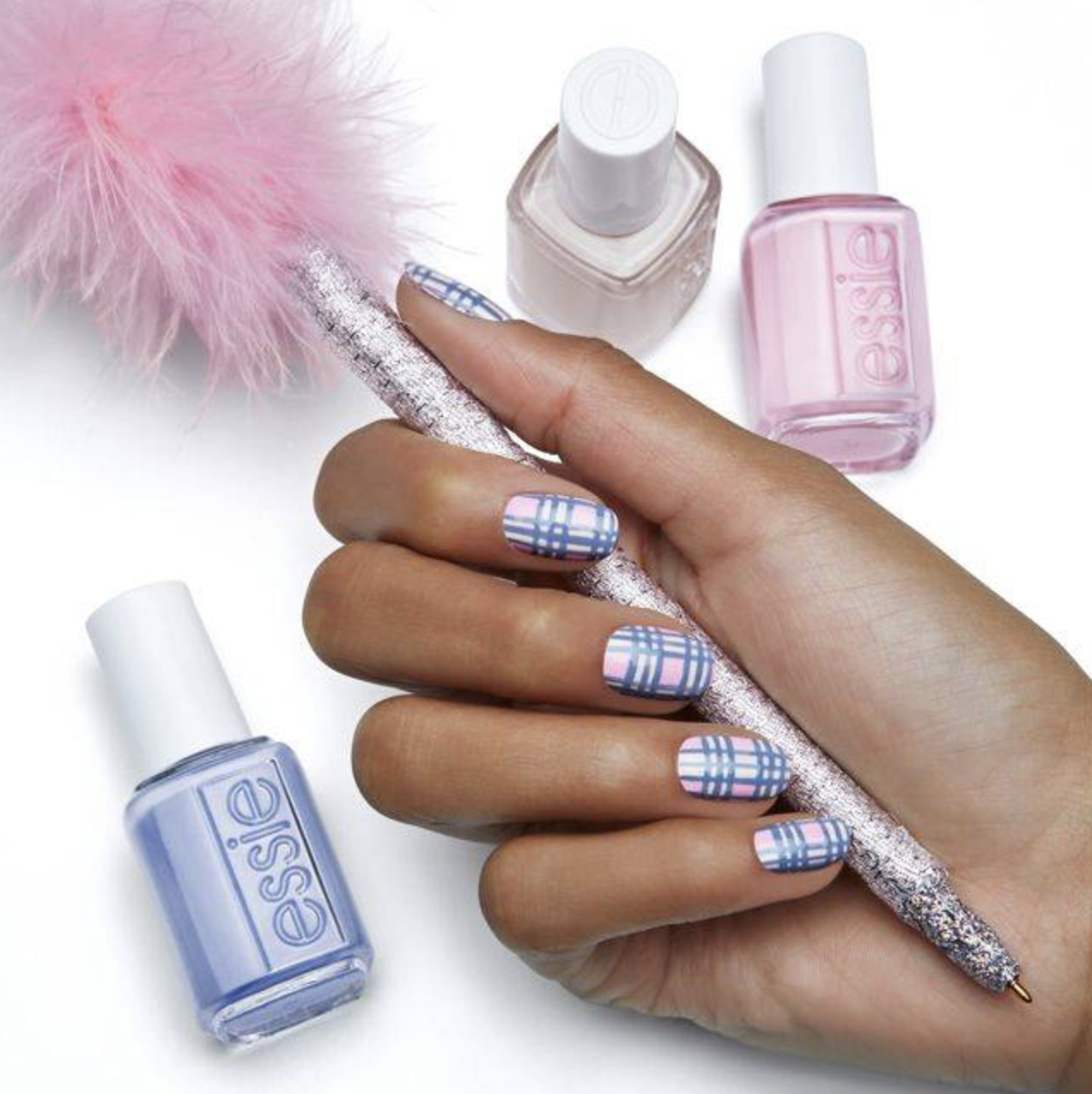 Pastel Plaid Nails