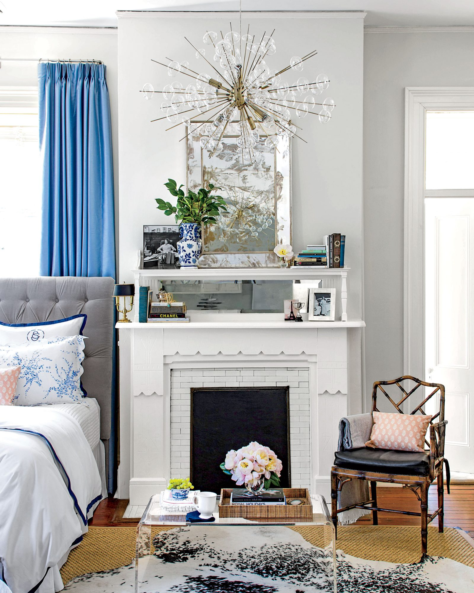 Studio apartment mantel and bed