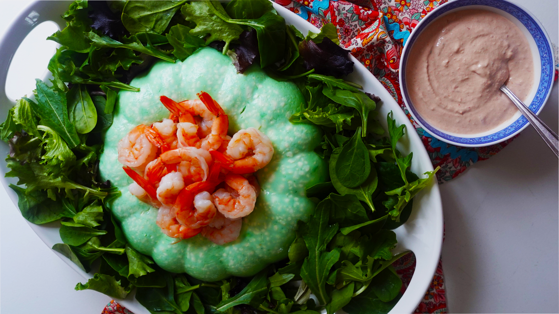 Lime Cottage Cheese Jello Salad with Sour Cream Chili Sauce Dressing