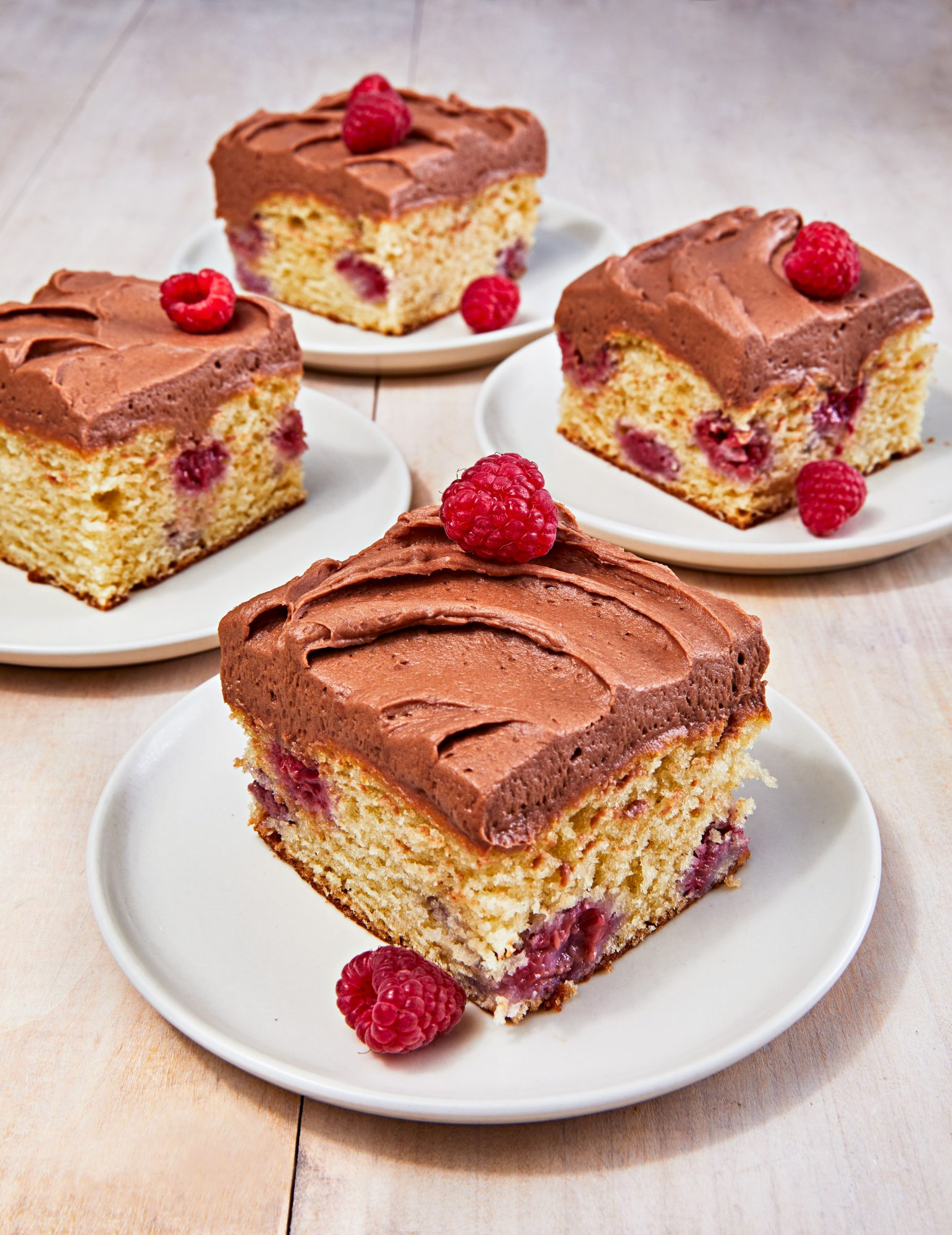 Raspberry Snack Cake with Salted Milk Chocolate Frosting