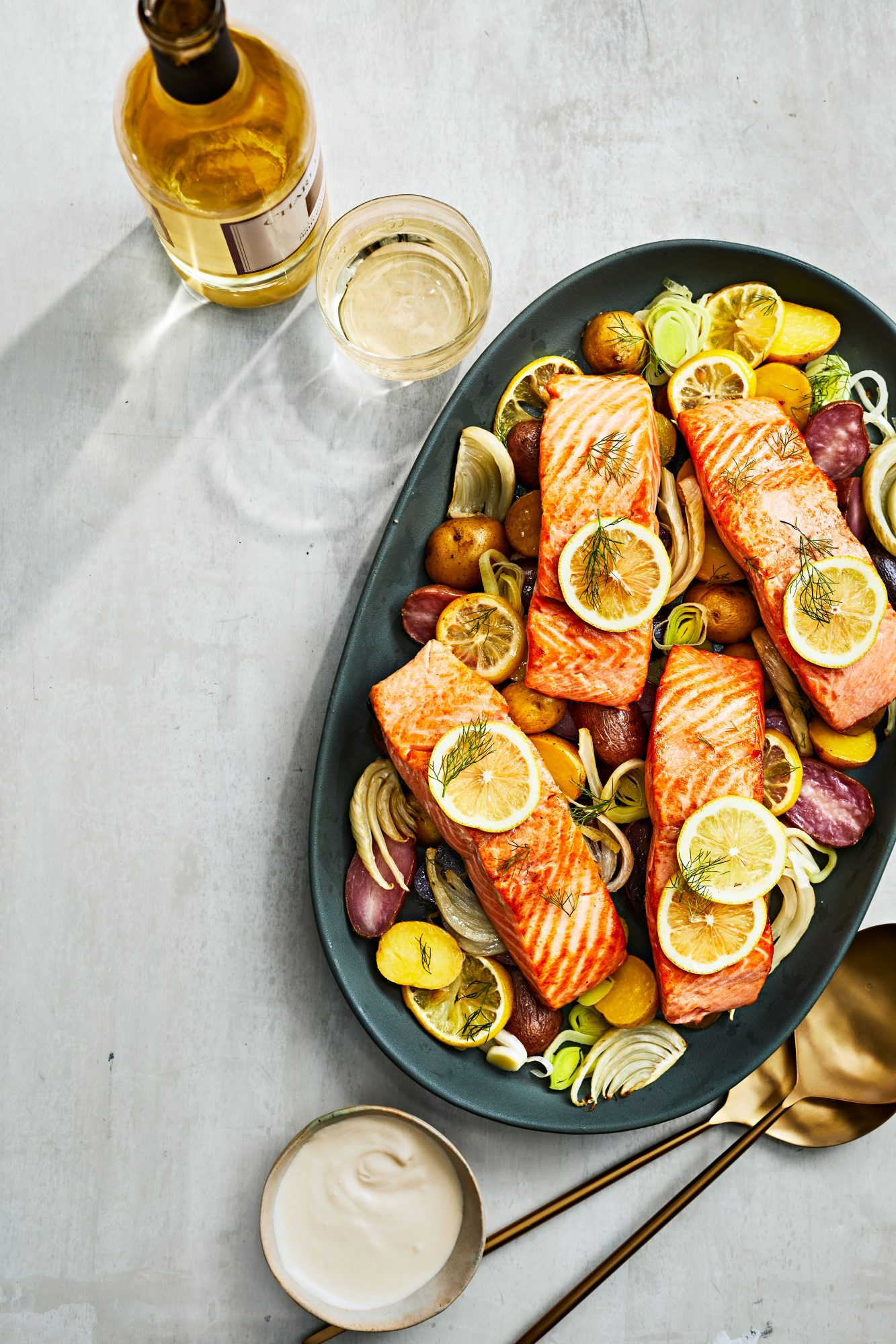 Lemony Slow-Cooked Salmon with Potatoes and Fennel