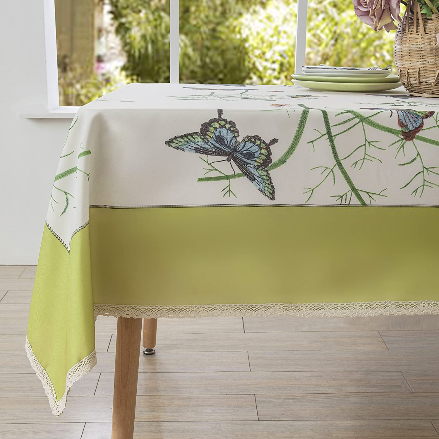 Decorative Butterfly Floral Print Tablecloth
