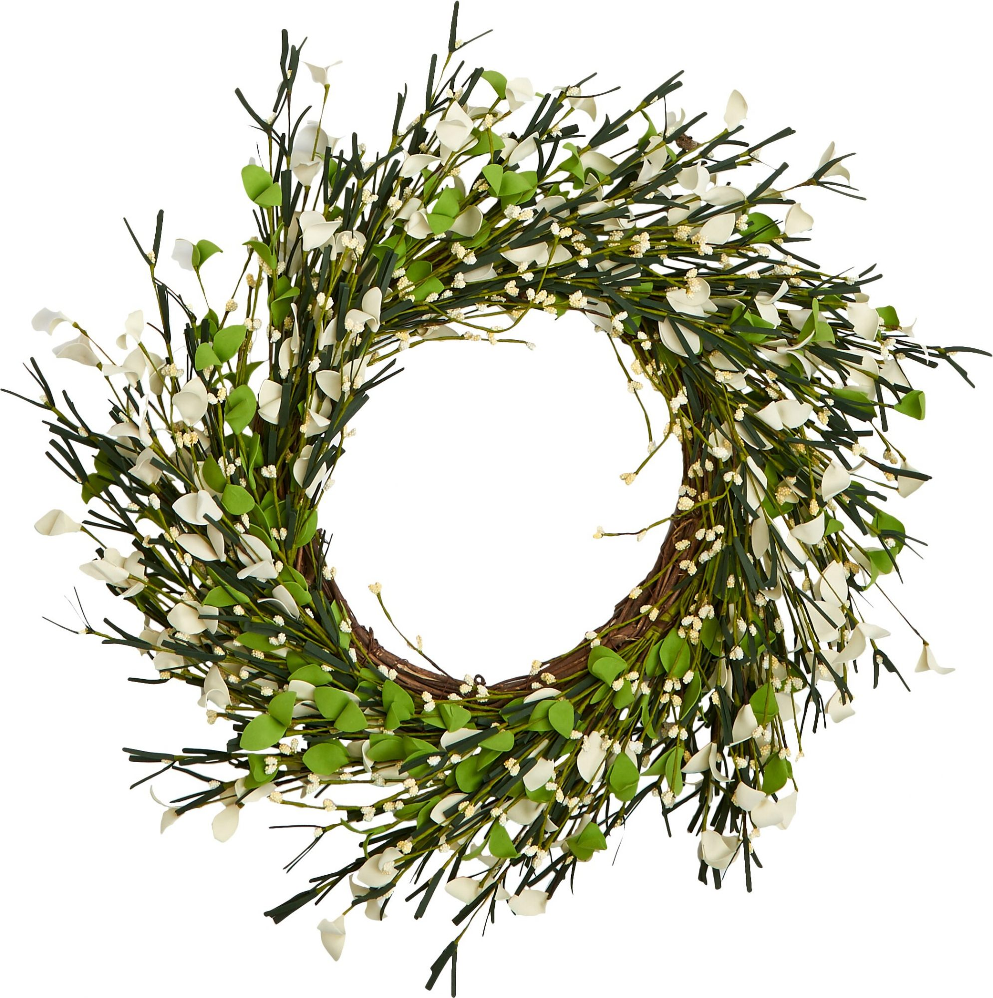 BUY IT: $47; wayfair.com Play up farmhouse charm with a simple green-and-white wreath that can hang on the front door all season long.
