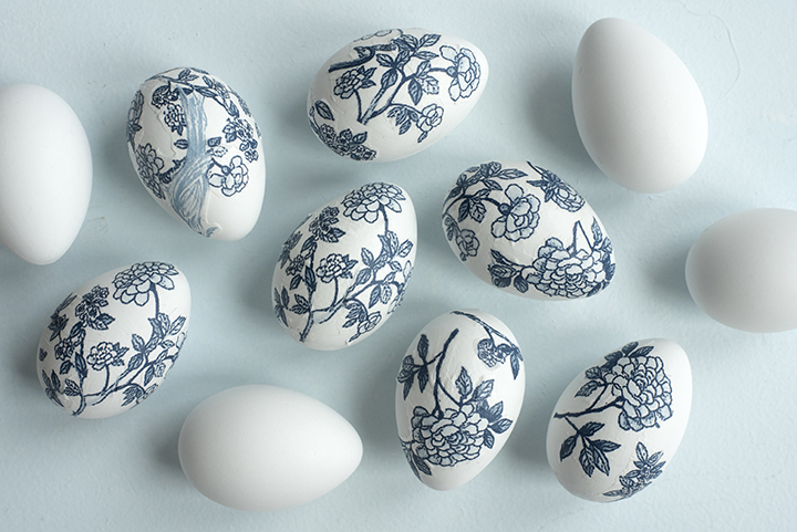 Blue and White Chinoiserie Easter Eggs
