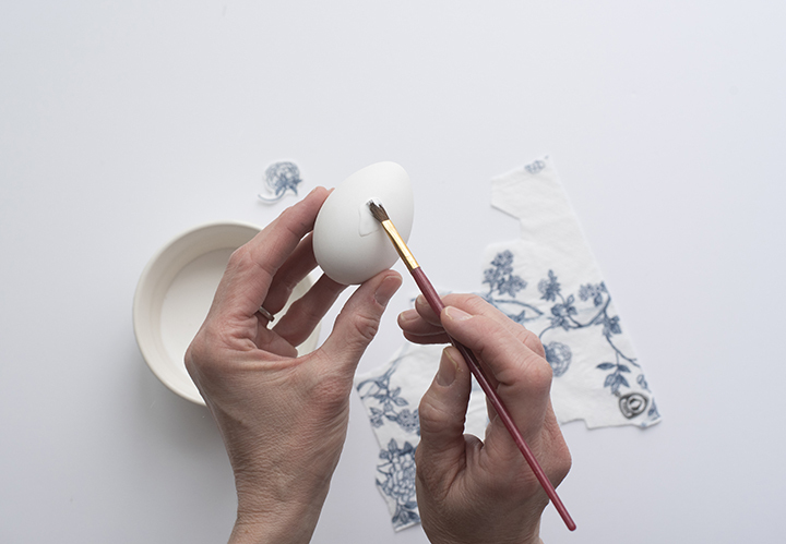 Blue and White Chinoiserie Eggs Mod Podge