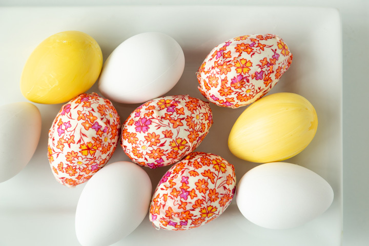 Floral Fabric Wrapped Easter Eggs on White Plate