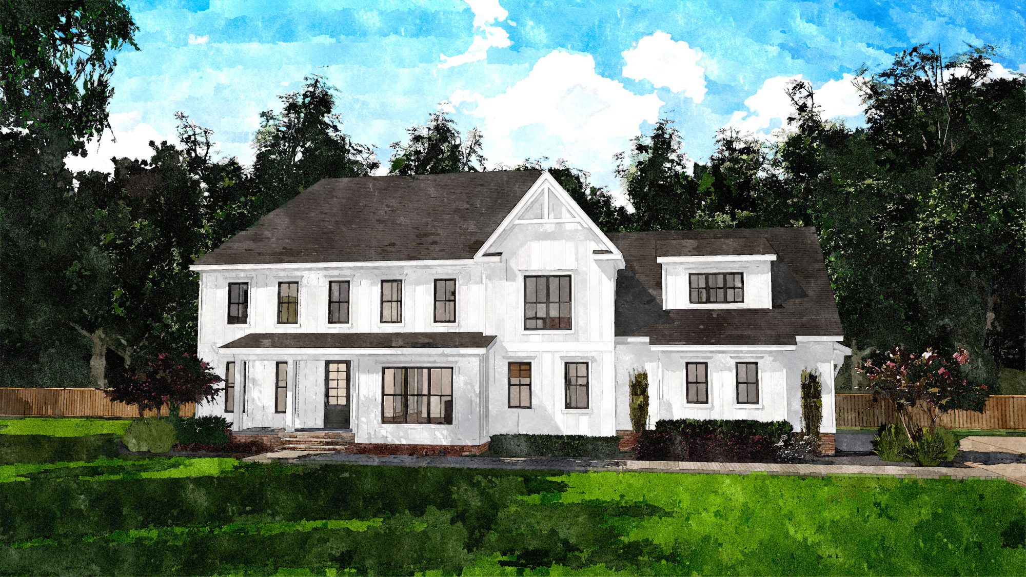 Deep River Farmhouse House Plan Rendering