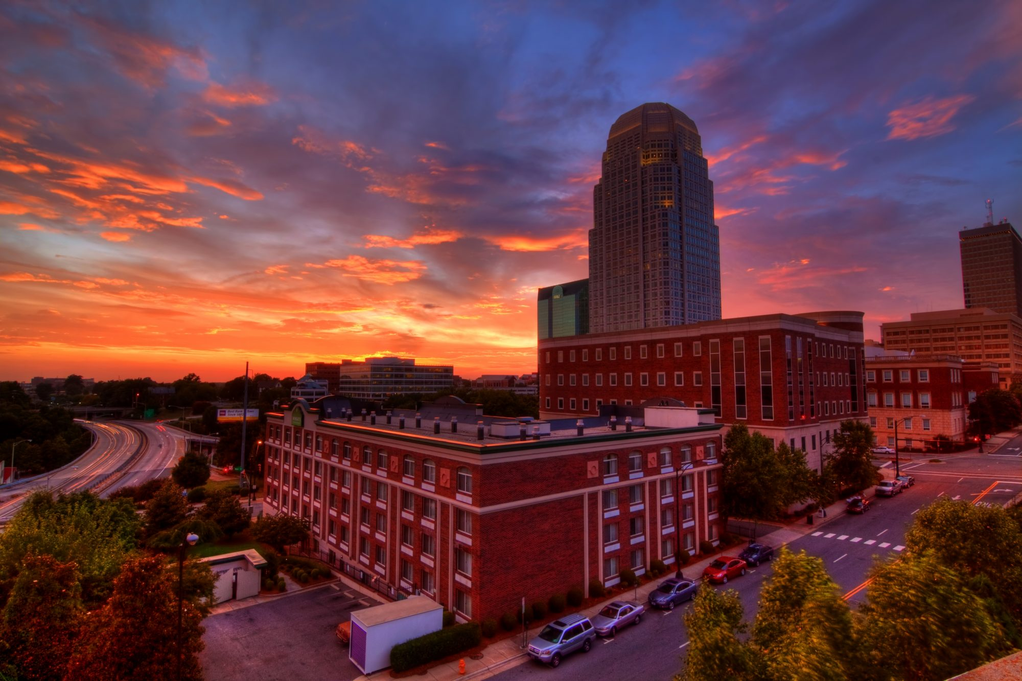 Downtown Winston Salem, NC at Sunset