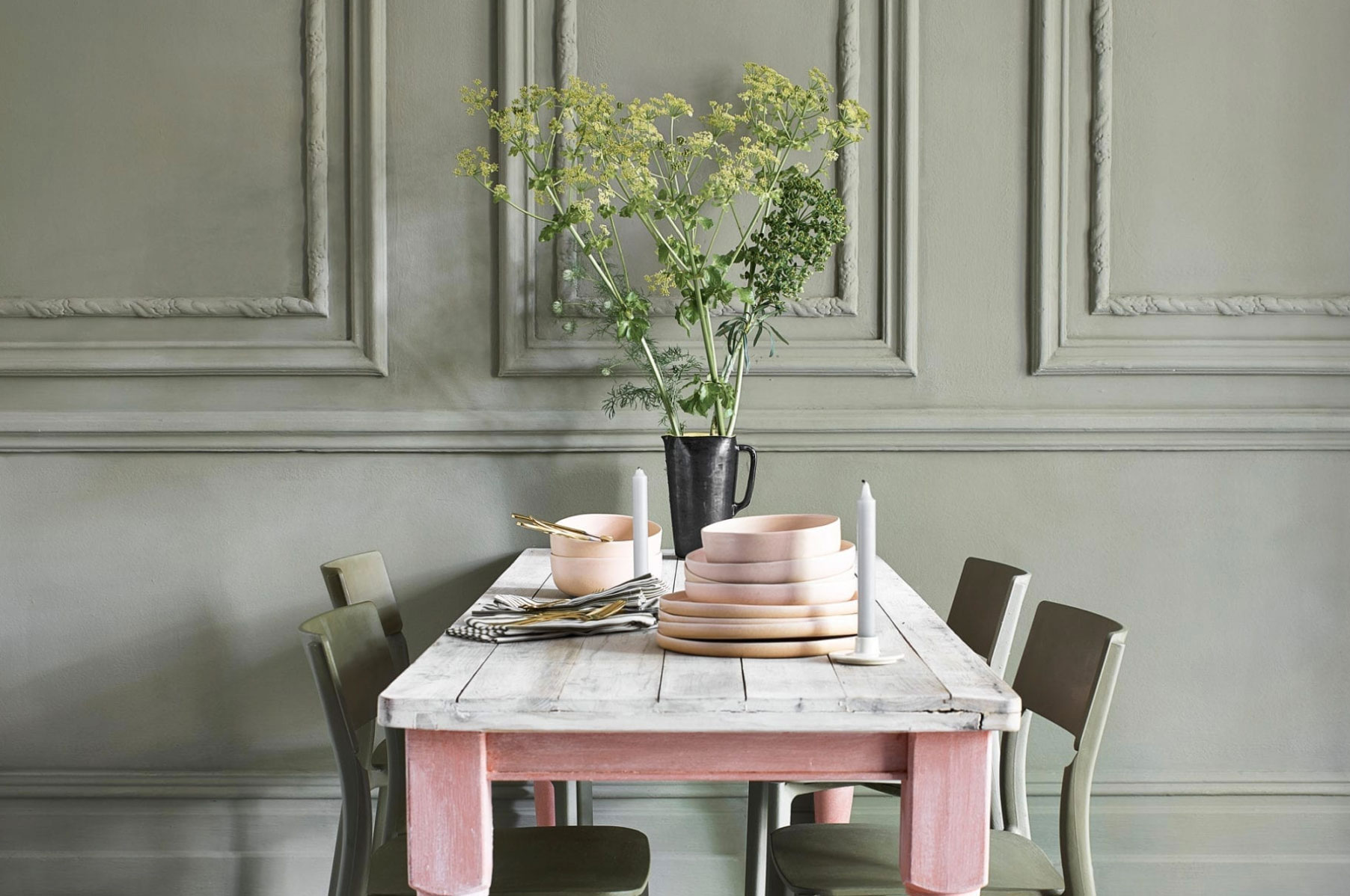 Gray Painted Walls Pink Dining Table