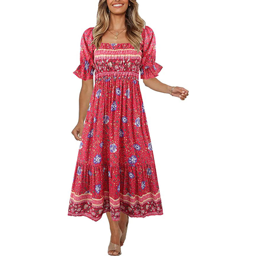 Women's Boho Puff Sleeve Midi Dress
