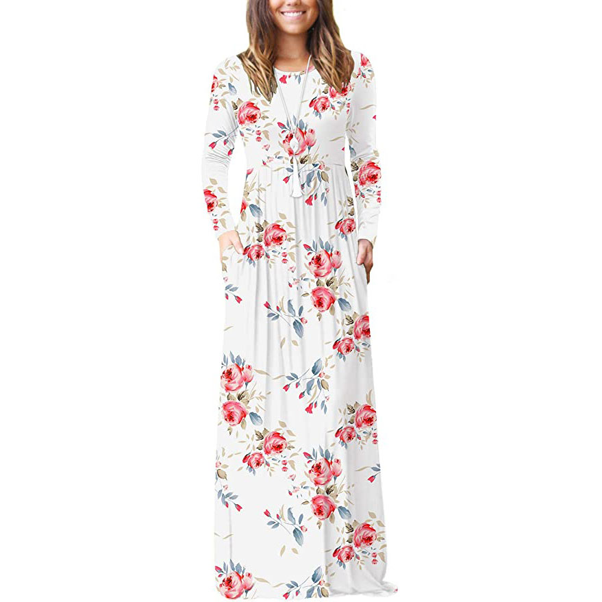 Women's Long Sleeve Loose Empire Maxi Dress