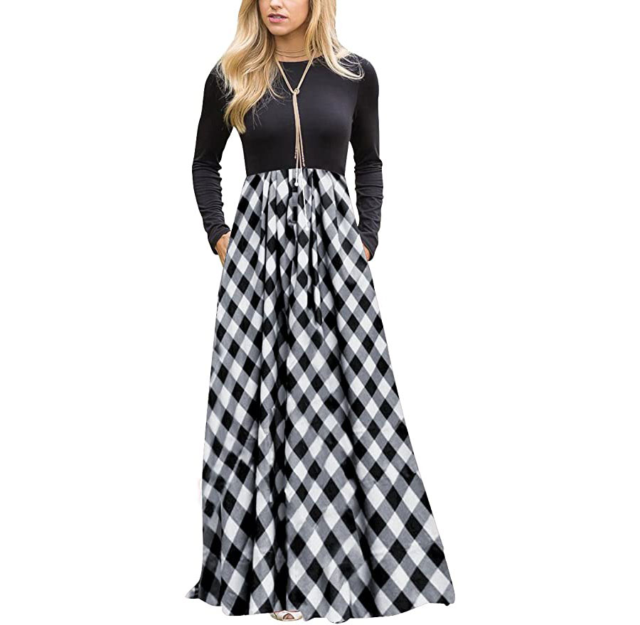 Women's Long Sleeve Plaid Maxi Dress