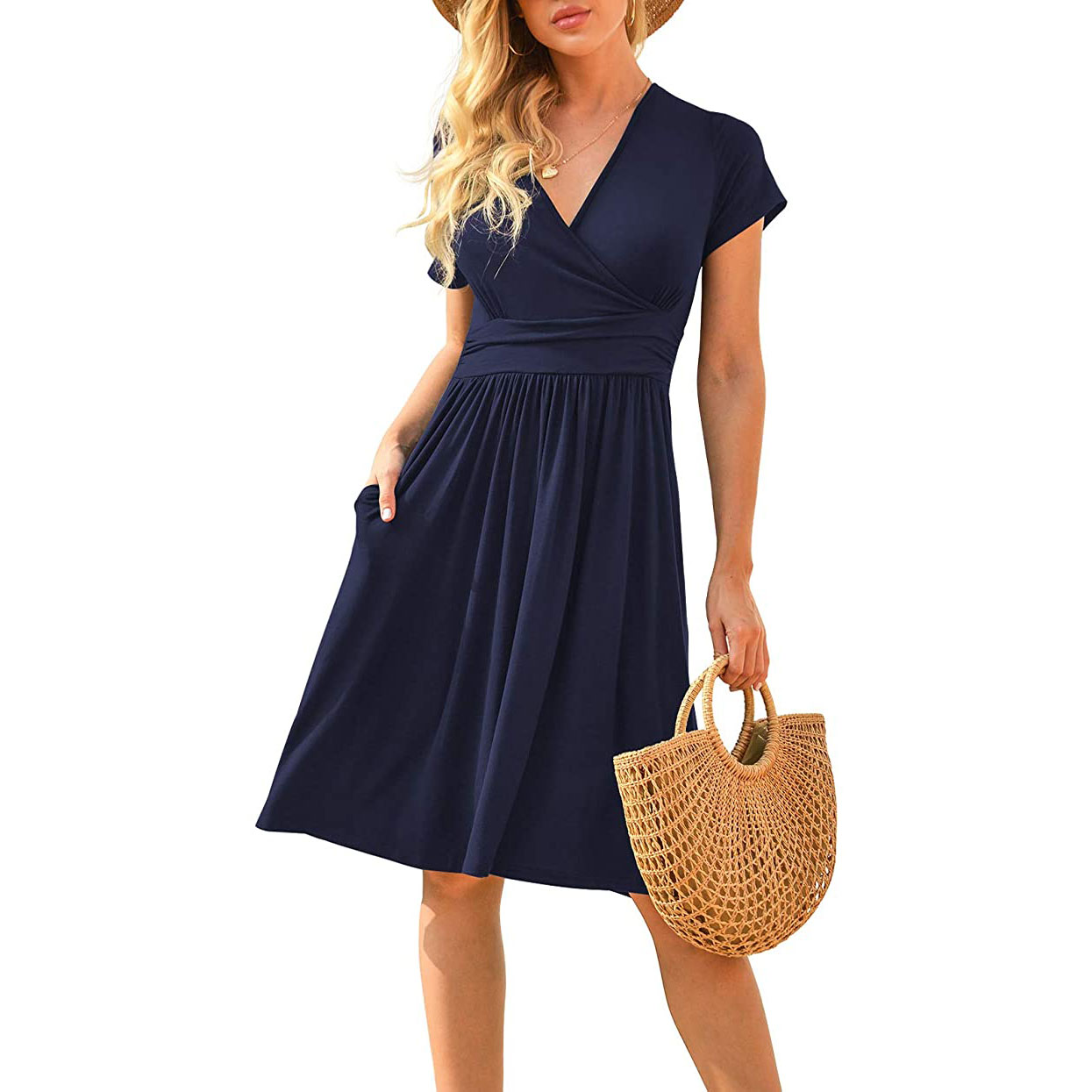 Women's Short Sleeve V-Neck Dress
