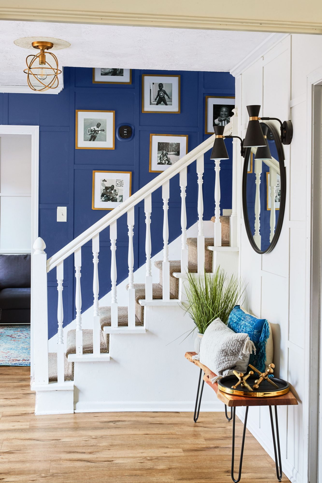 Entry Staircase with Charcoal Blue Feature Wall