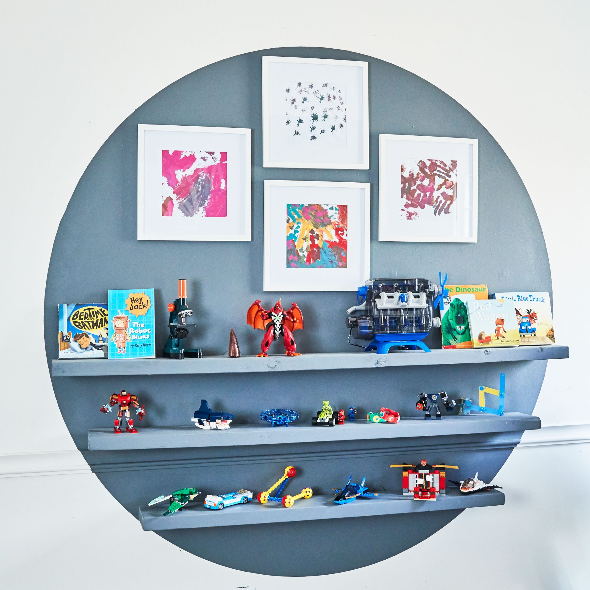 Circle Art Treatment on Wall with Paint and Shelving