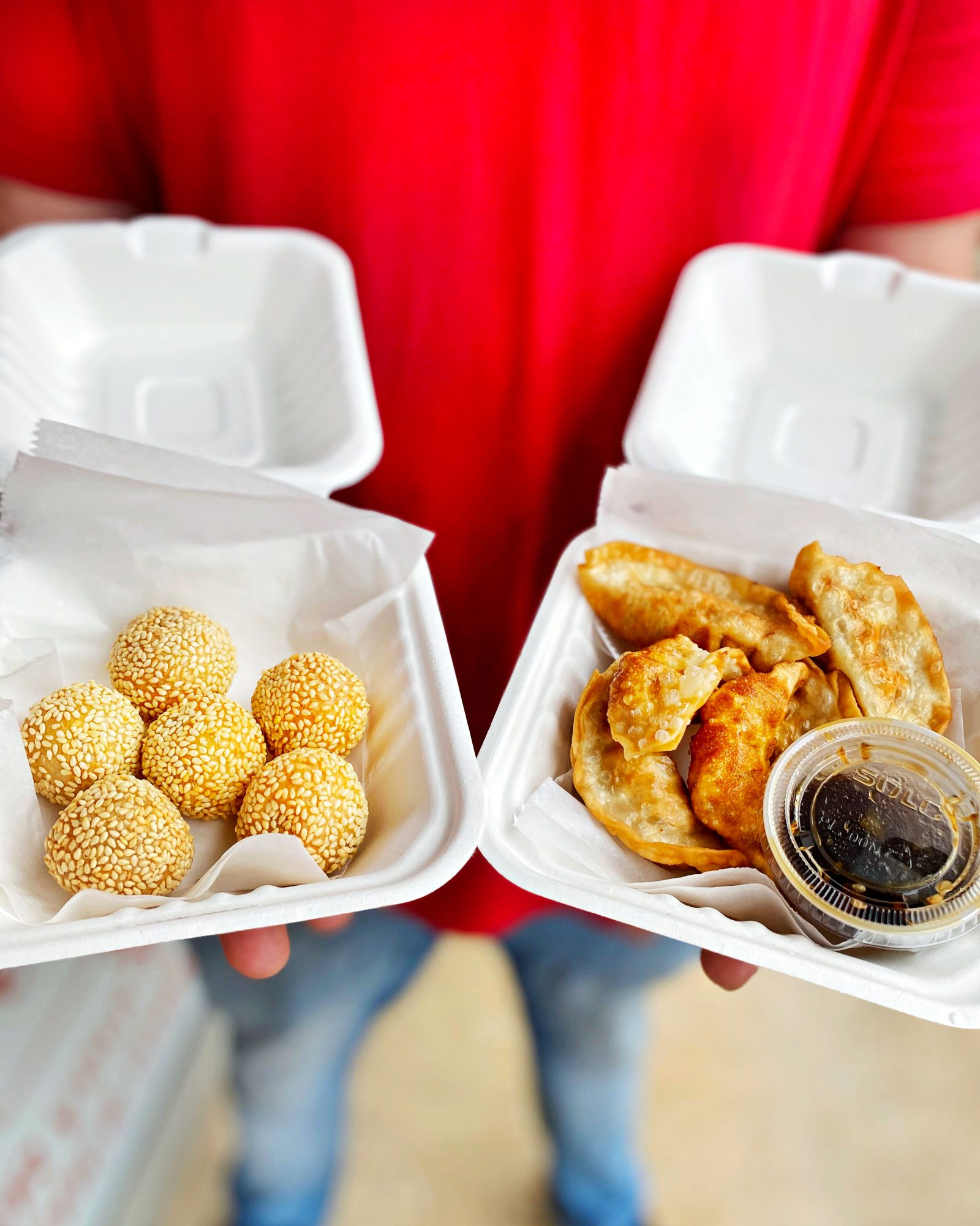 Sesame Balls and Potstickers from Tso Chinese Delivery