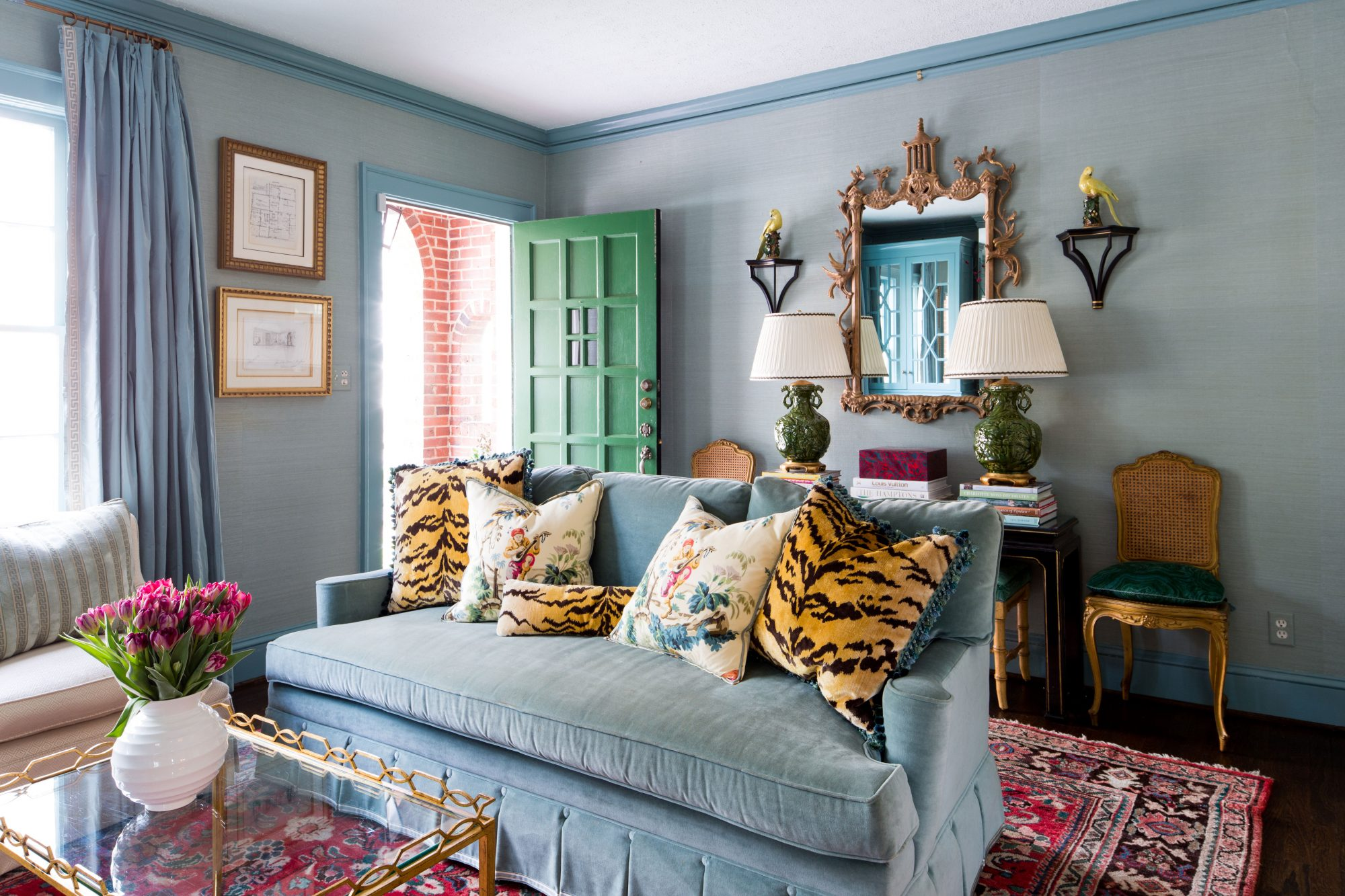 Bright Blue and Green Living Room