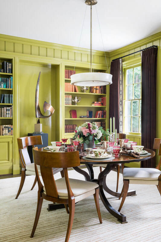 Pale Blue and Moss Dining Room