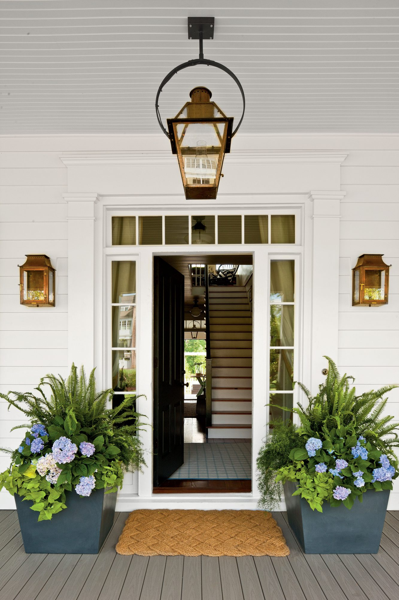 Potted Hydrangeas with Ferns Flanking Front Door