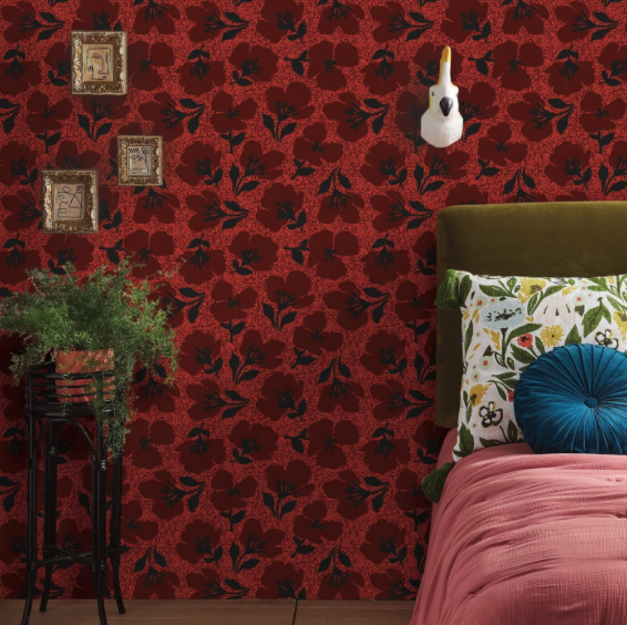 Red Floral Peel and Stick Wallpaper