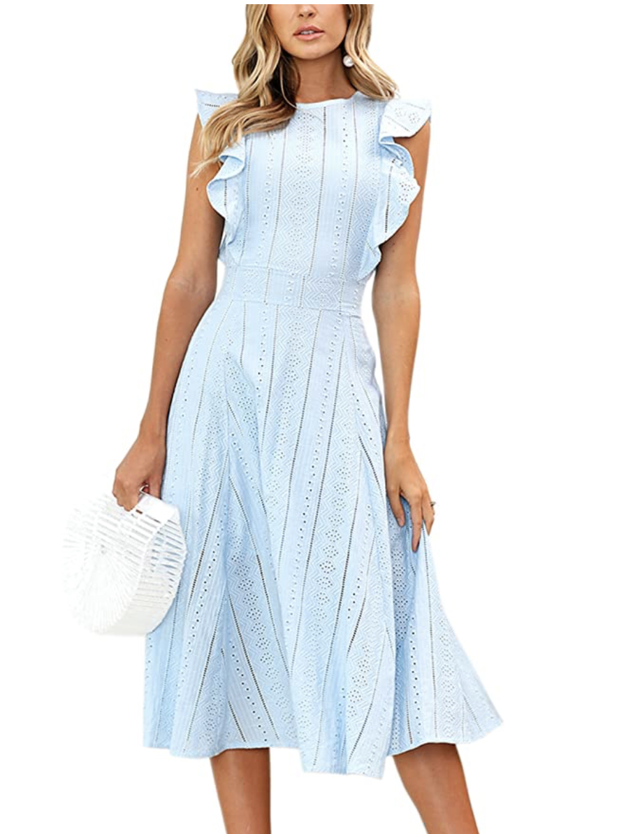 Ruffle Sleeve Eyelet Dress