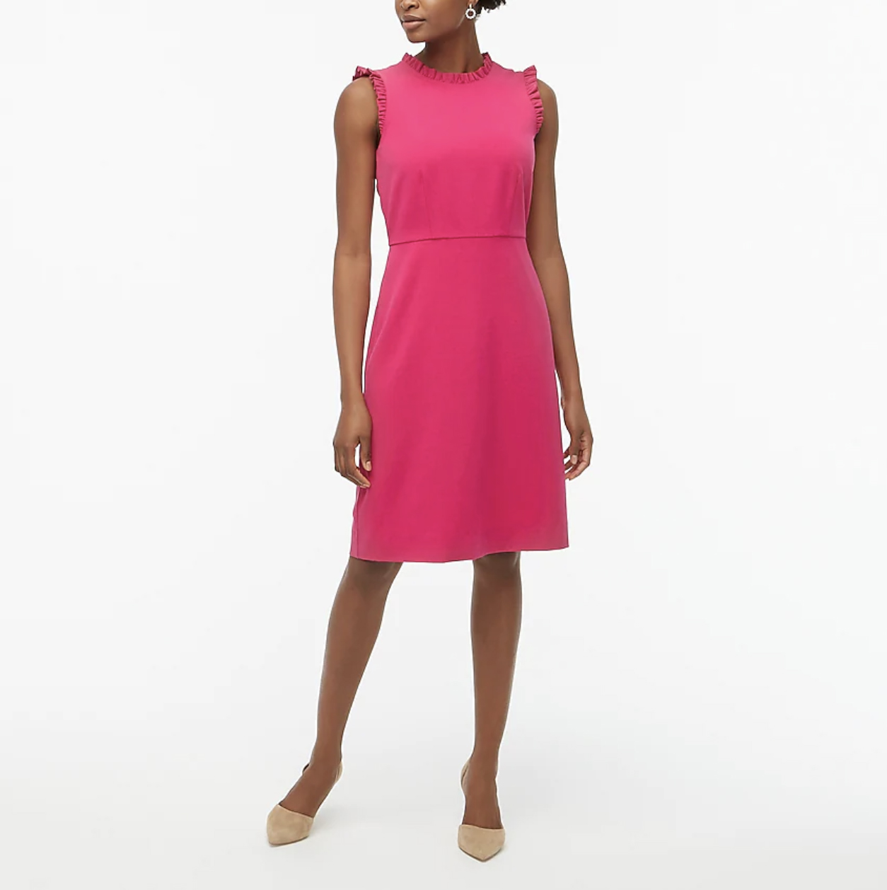 J. Crew Ruffle Neck Sheath Dress