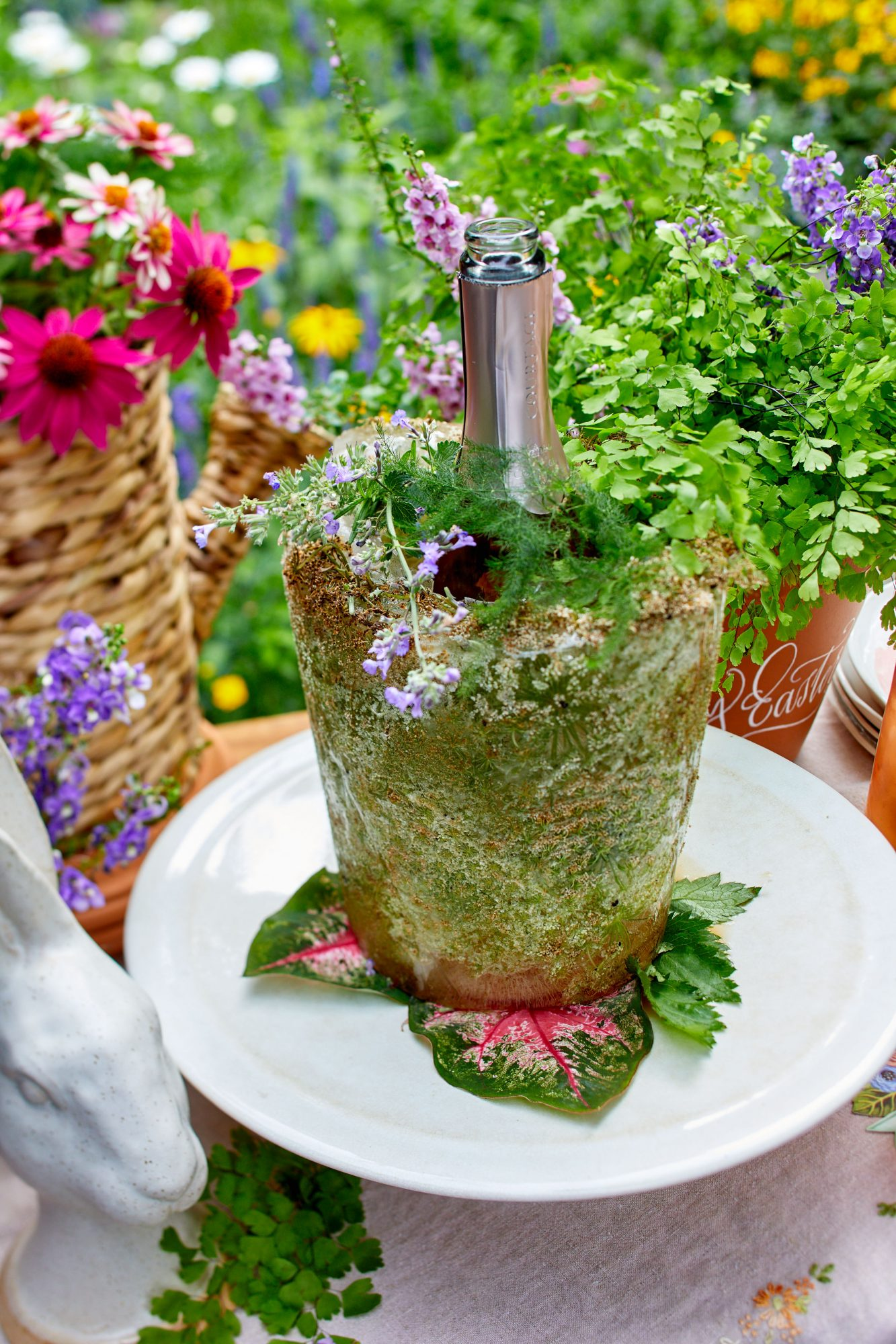 Homemade Champagne Bucket with Queen Anne's lace for outdoor Easter party