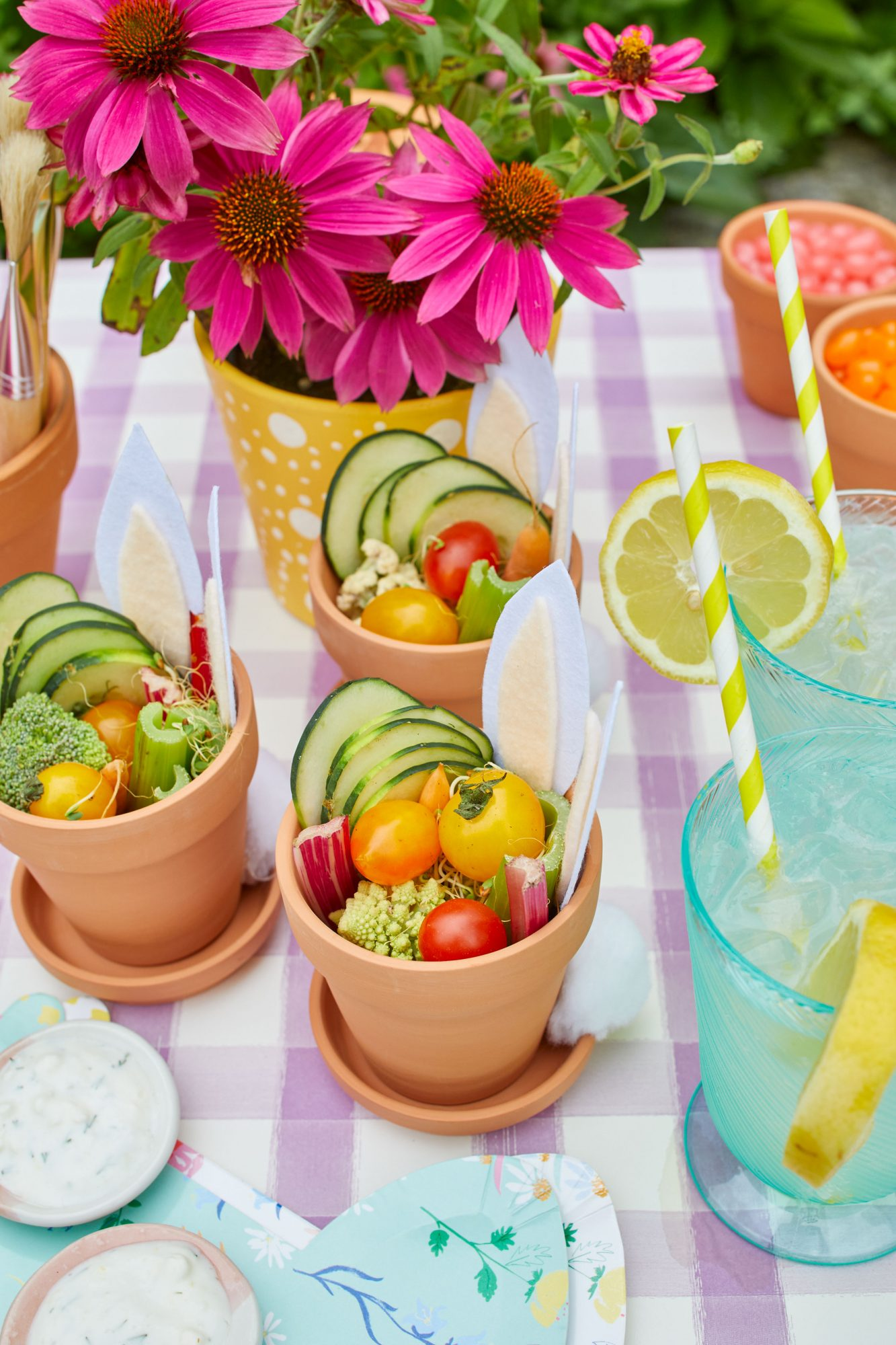 Individual Veggie Pots for Easter Themed Garden Party