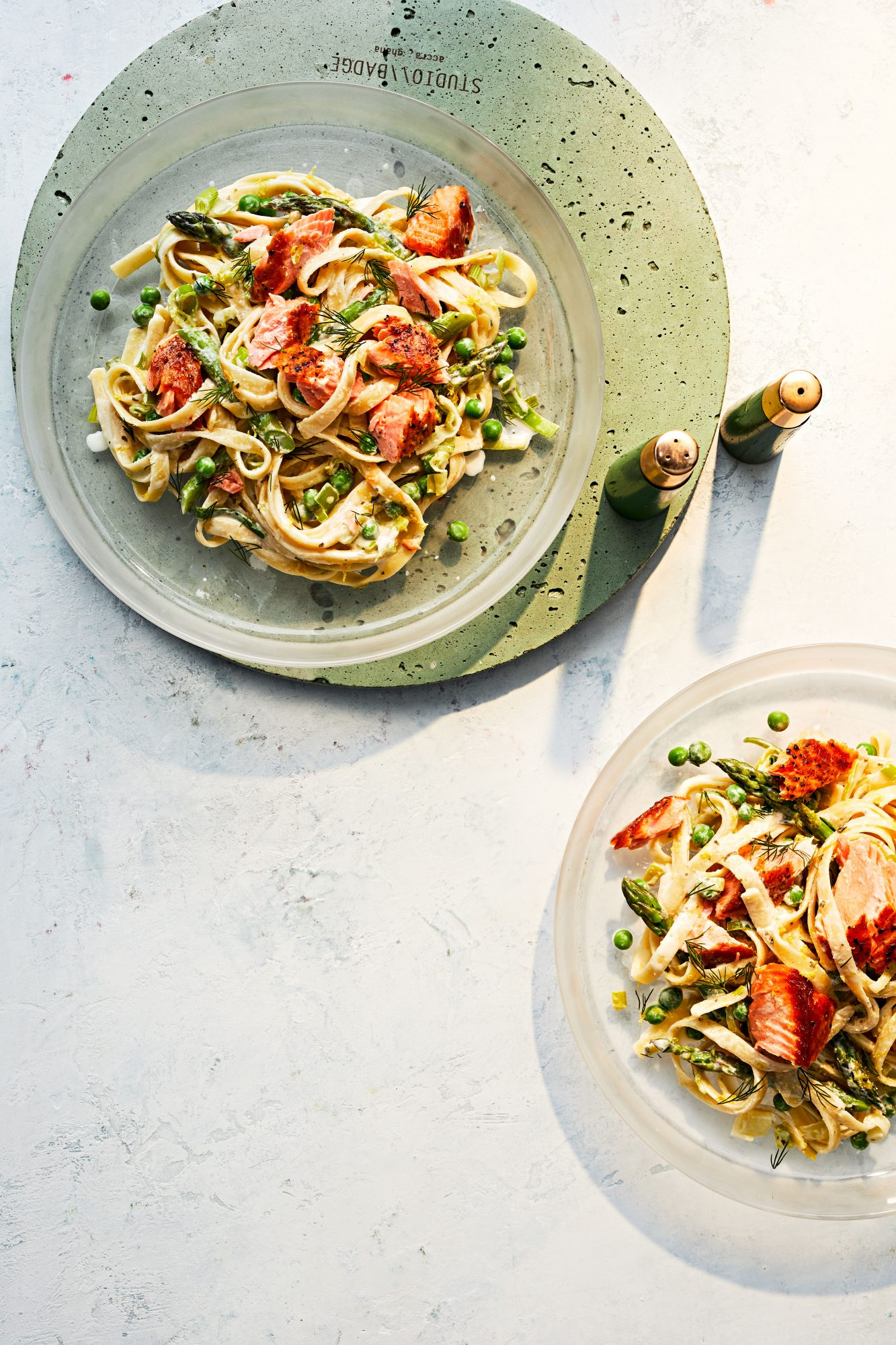Creamy Salmon Fettuccini and Spring Vegetables