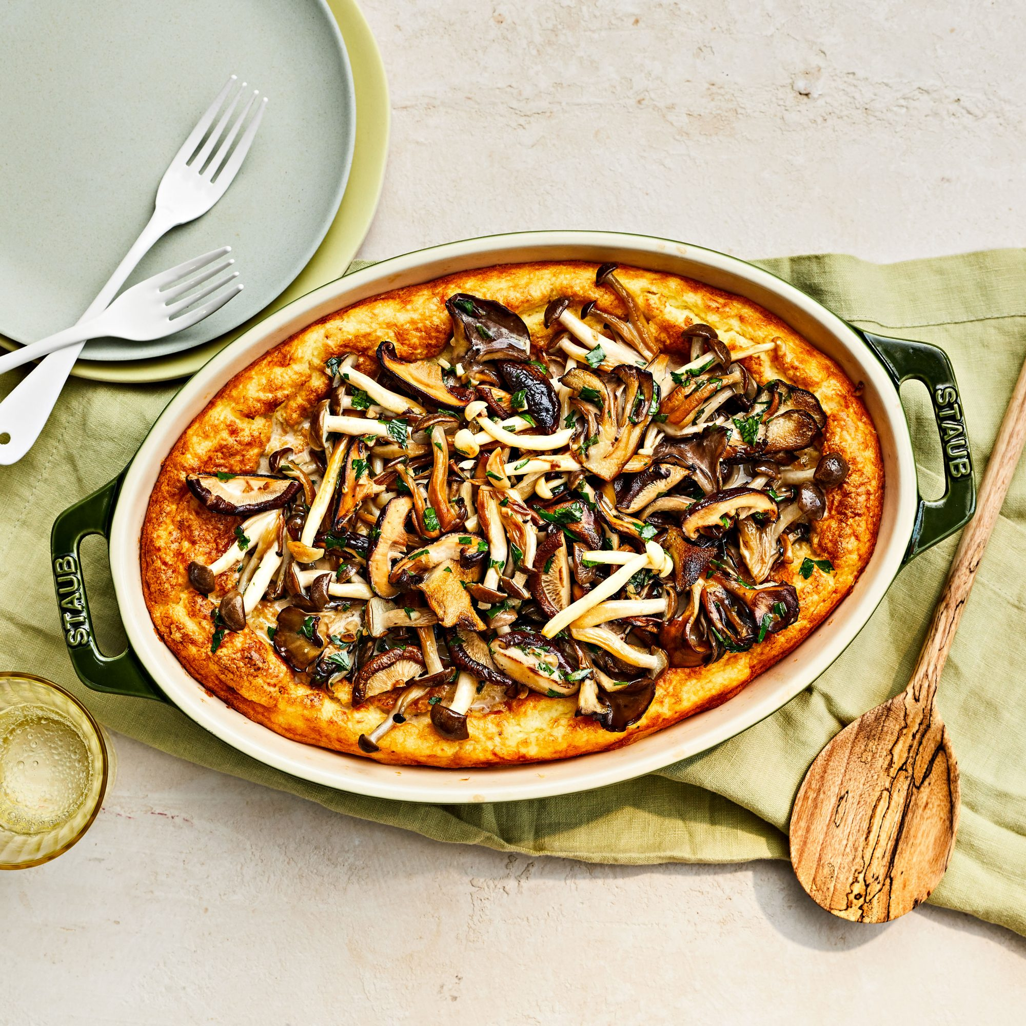 Spoon Bread with Mushrooms and Herbs