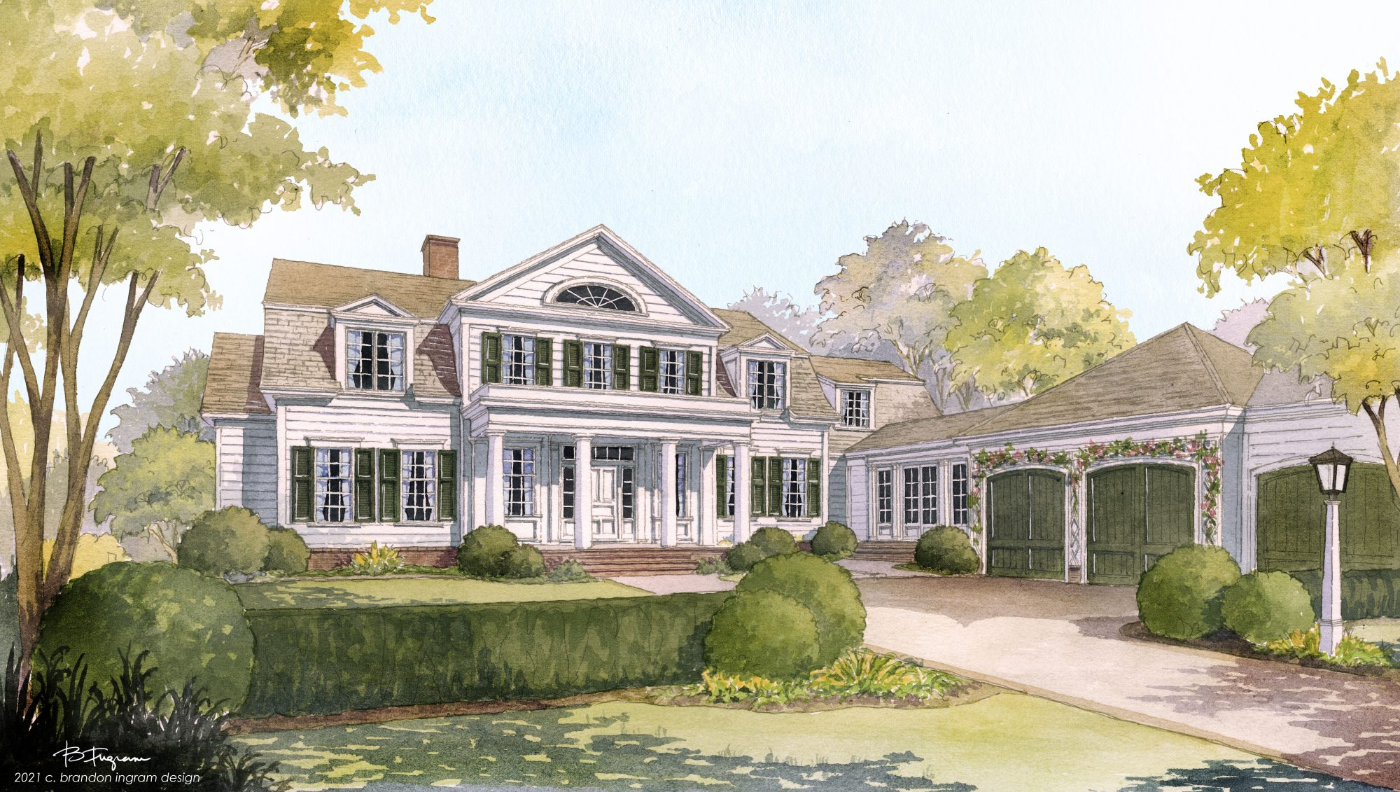 Rending of two story traditional white house