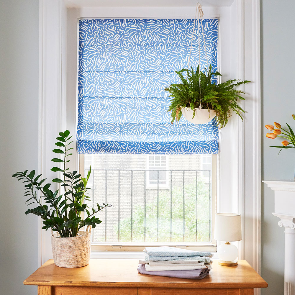 Blue Roman Shade with Hanging Planter