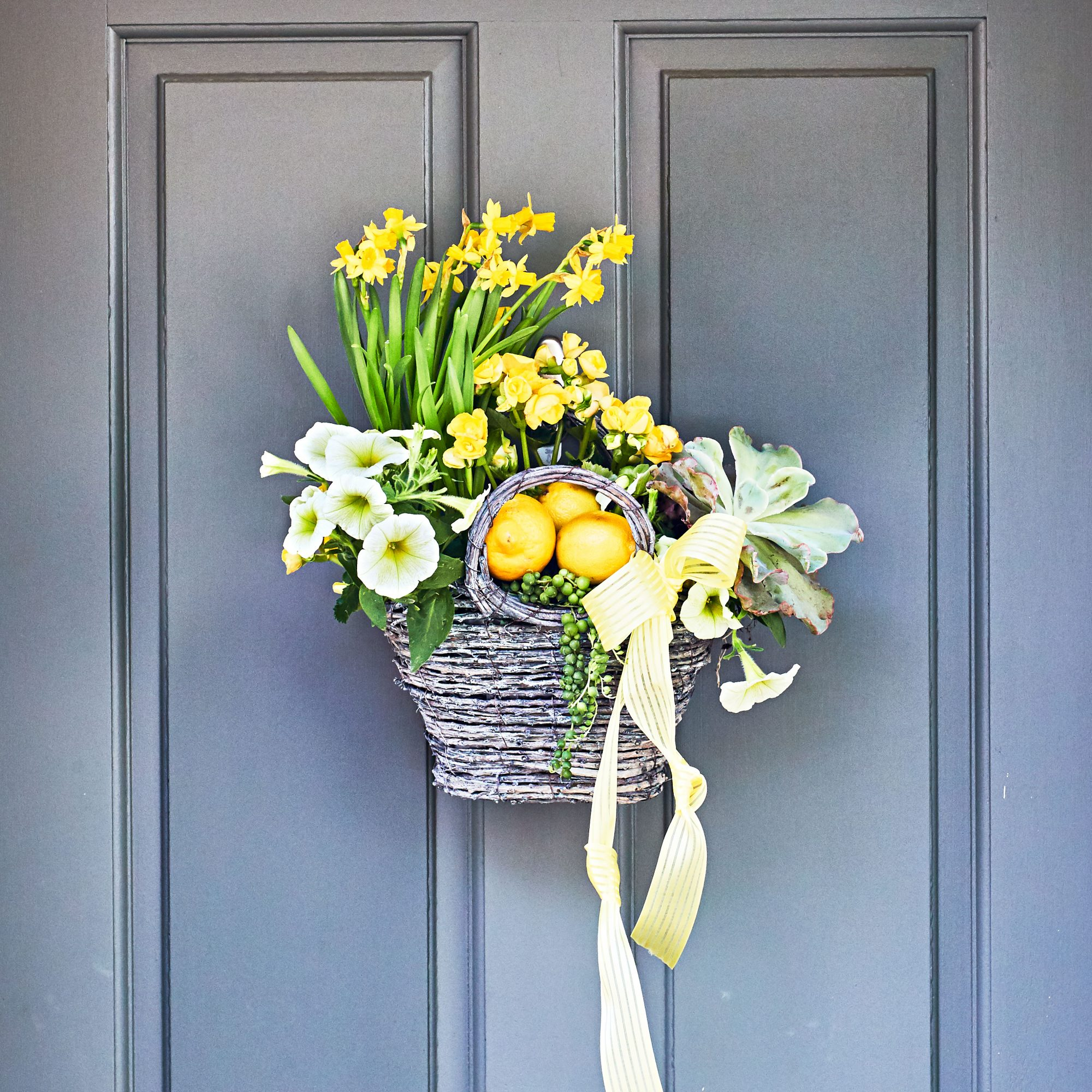 Hanging basket on front door with daffodils, violas, and succulents