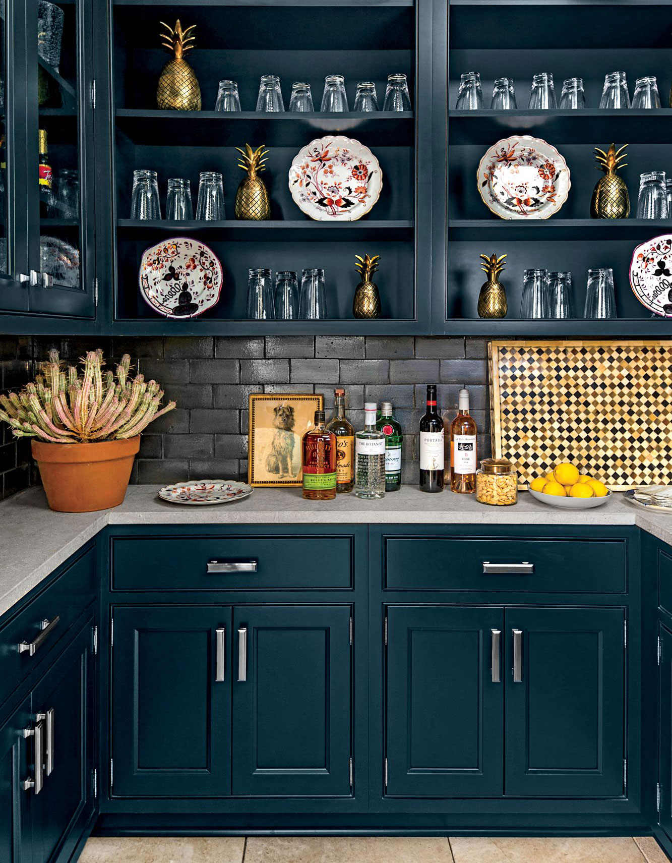 Pantry with dark blue cabinetry and walls