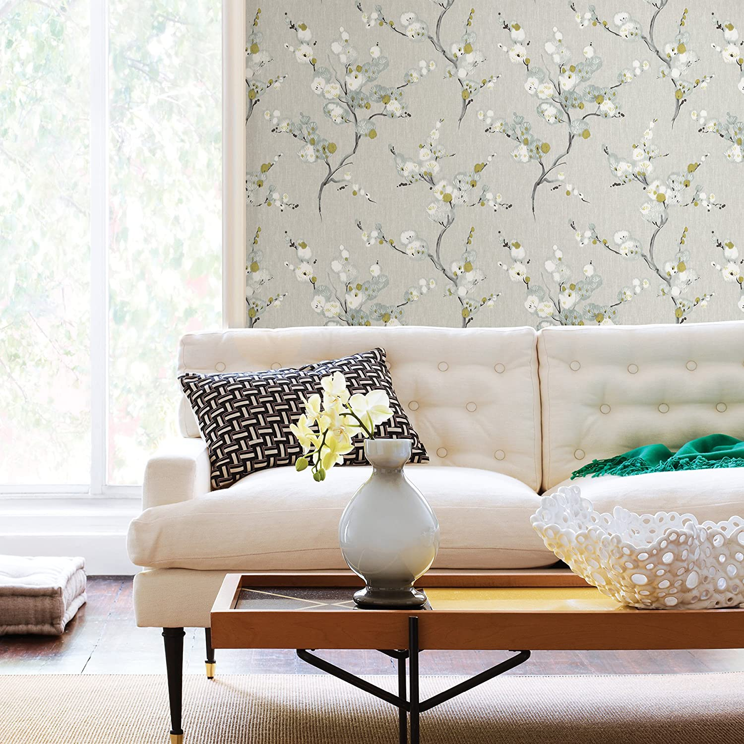 taupe floral wallpaper