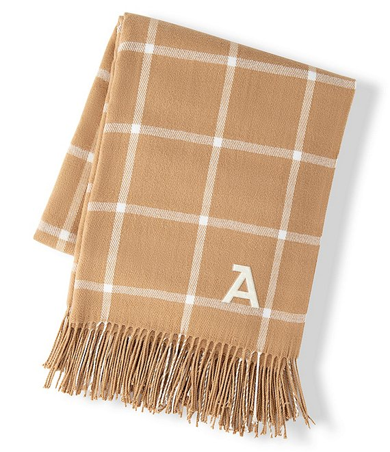 Cathy's Concepts Personalized Camel Windowpane Throw Blanket