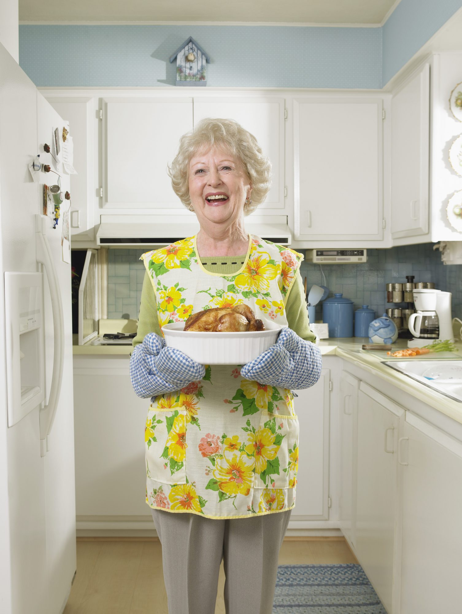 grandmother in apron baking
