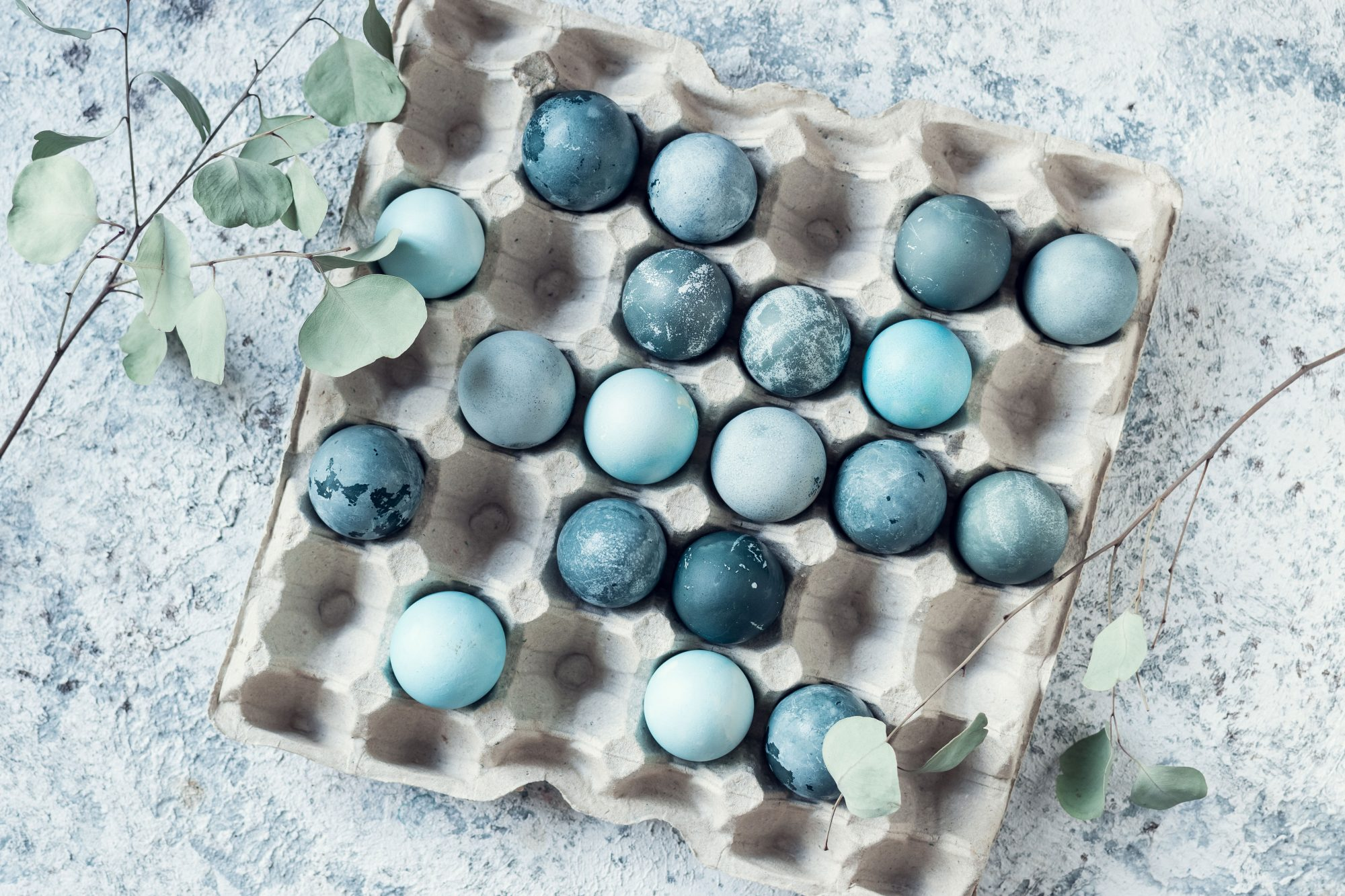 Blue Dyed Easter Eggs in Egg Crate