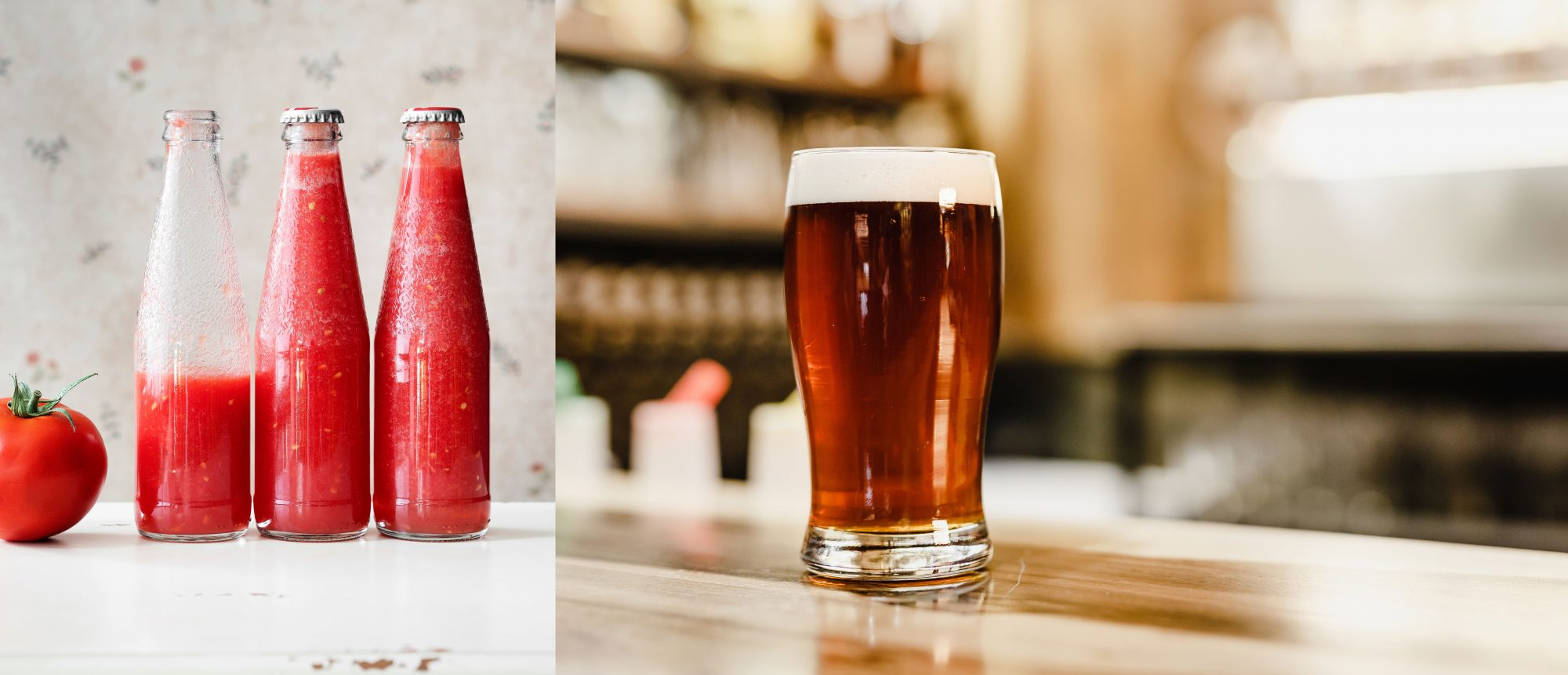 Bottles of Tomato Juice and a Glass of Beer