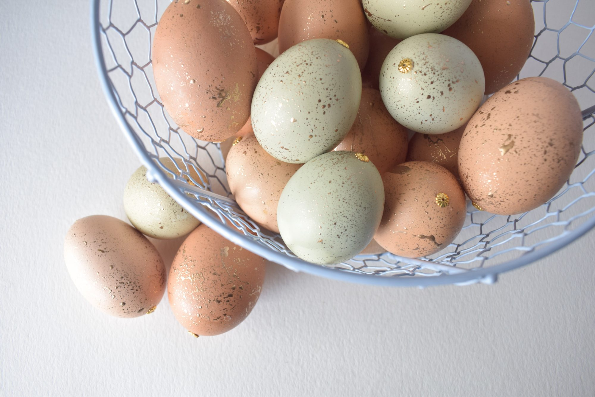 Gold Speckled Easter Eggs in Basket