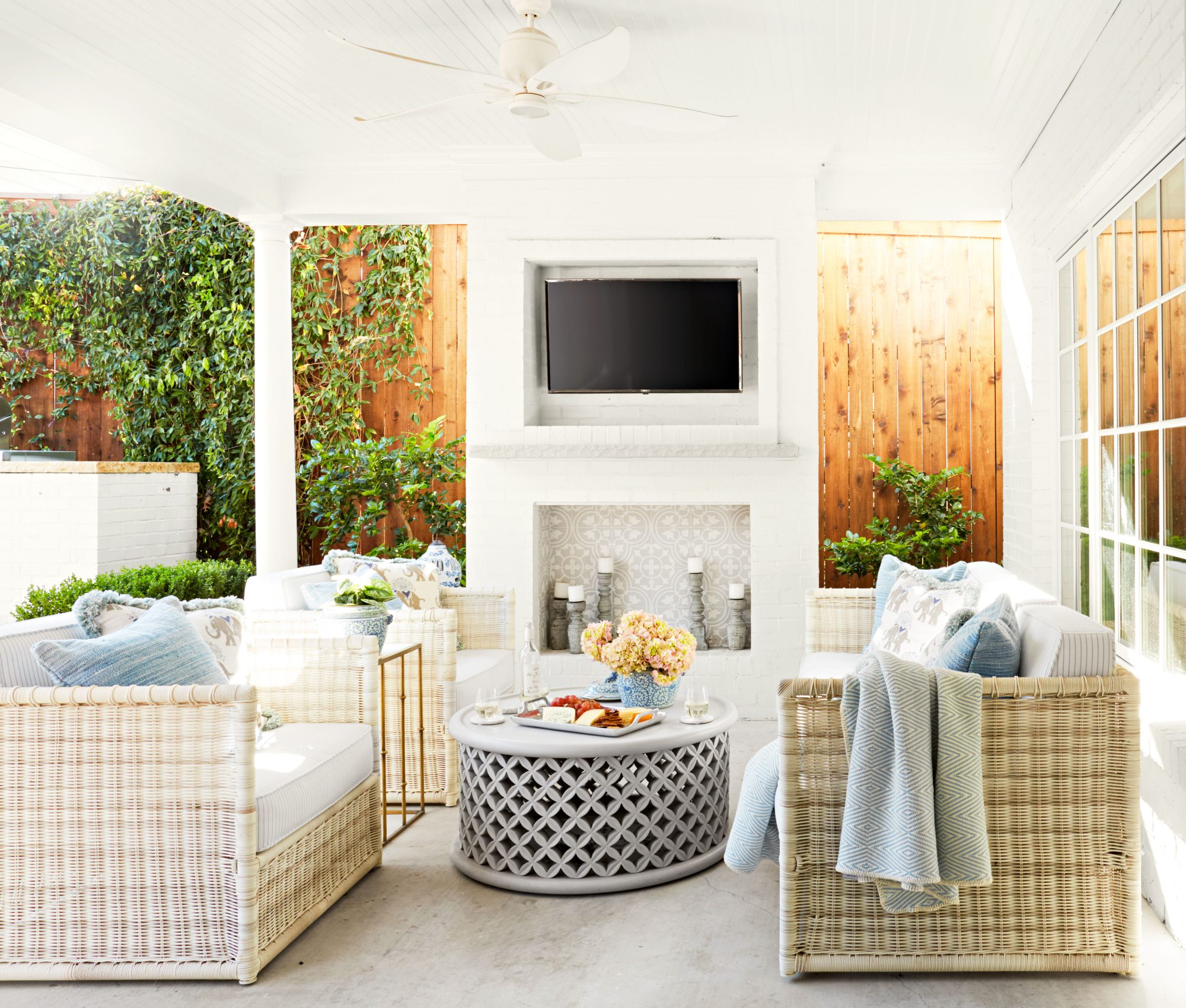 Outdoor patio with seating