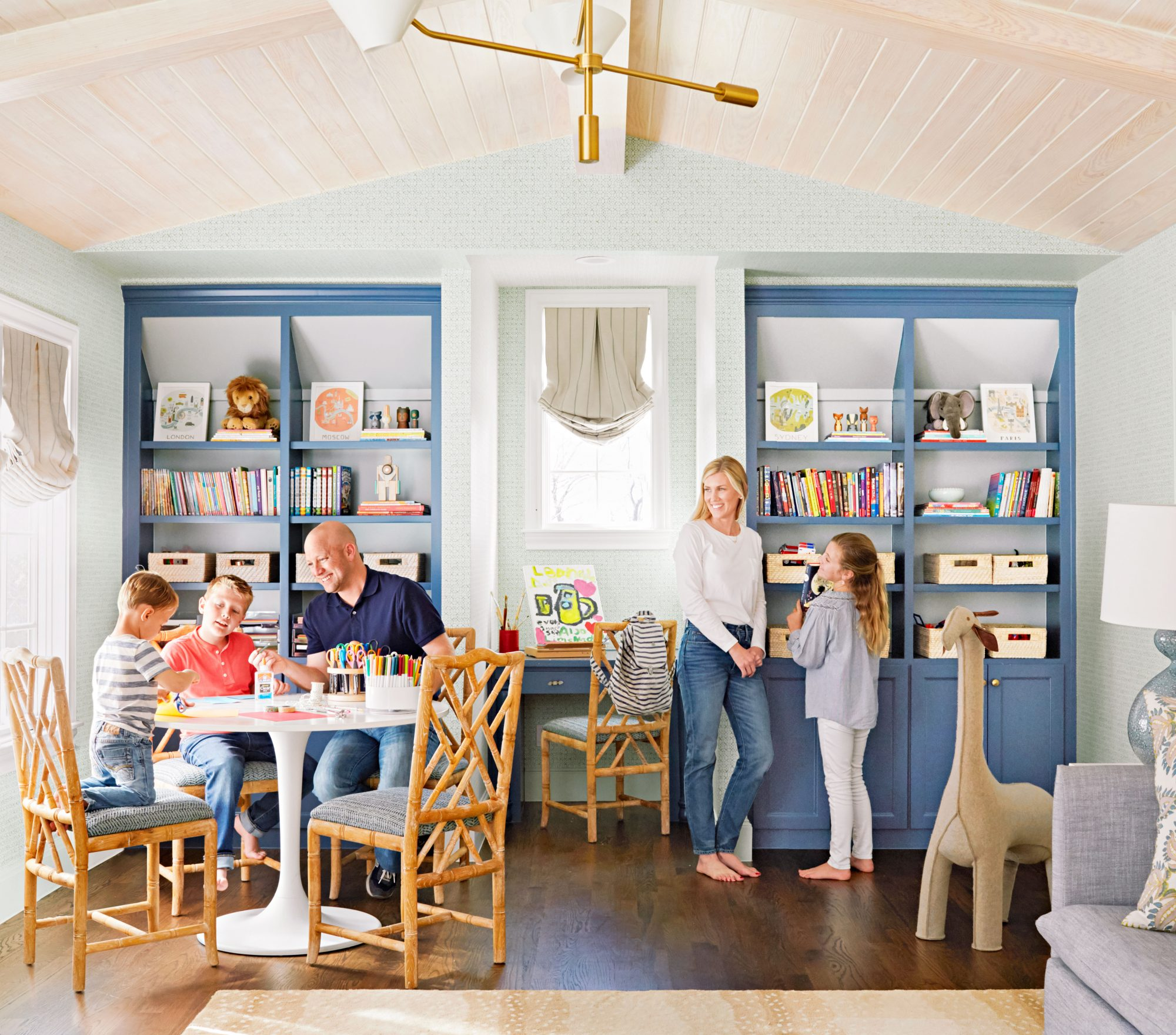 Kids Playroom with built in blue shelving