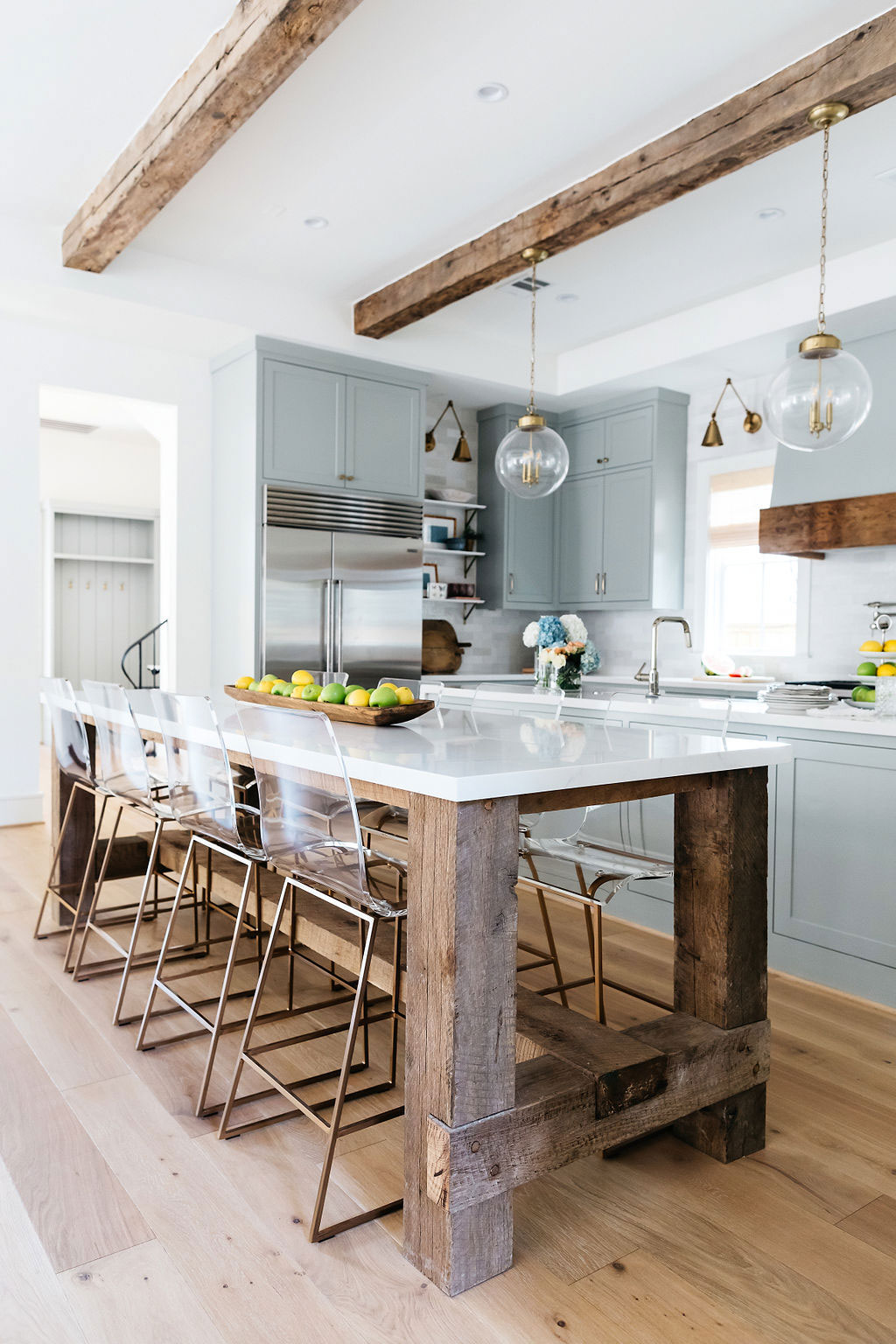 Rustic Kitchen with Exposed Beams Cabinets in Magnetic Gray by Sherwin Williams