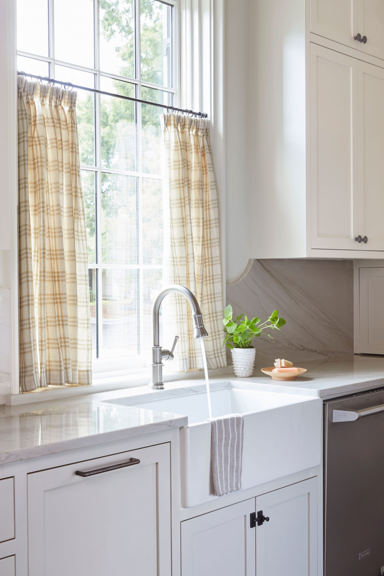 Kitchen Painted Cadet Gray by Pratt & Lambert with Cafe Curtain in Check